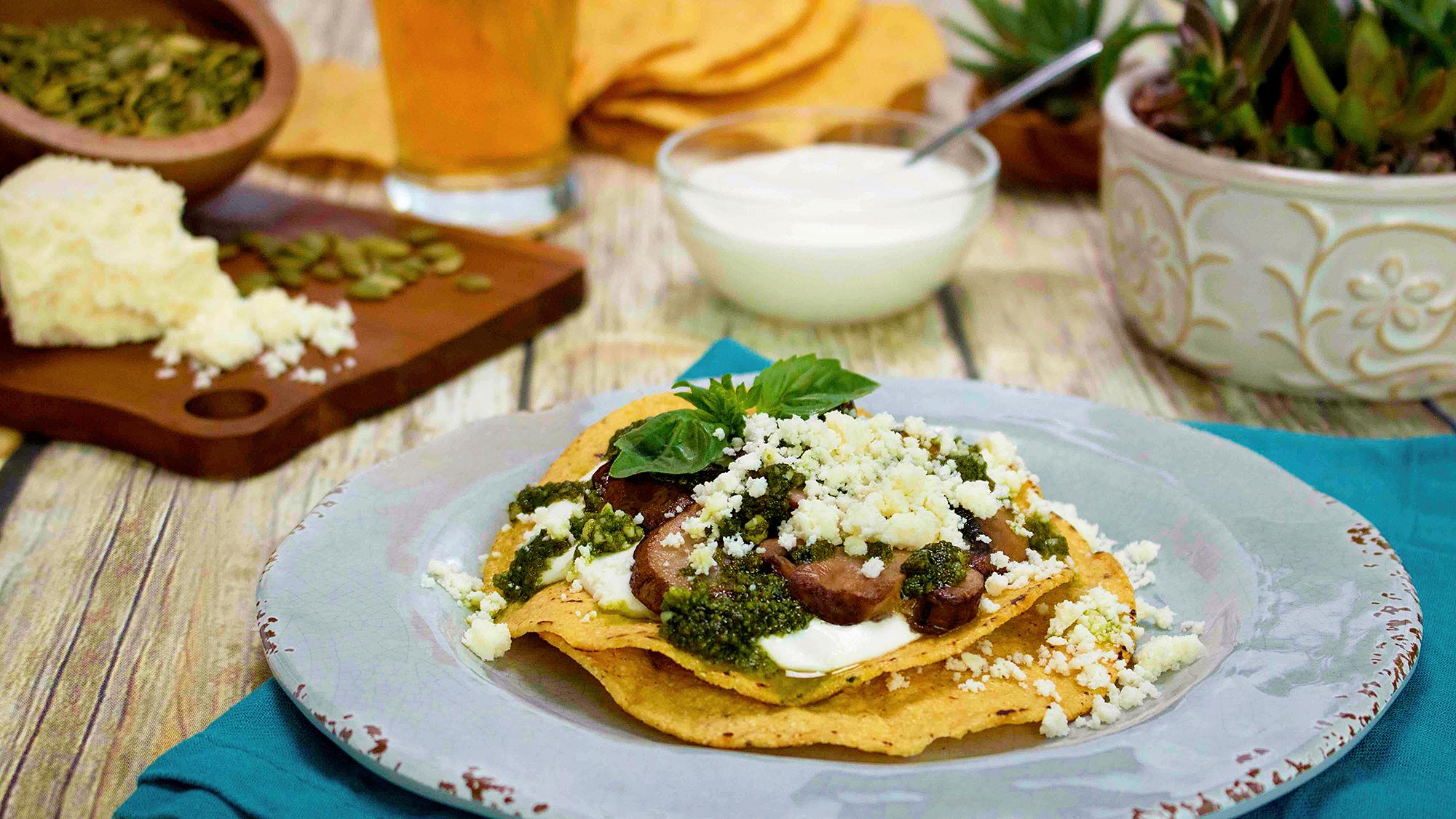 Aaron Sanchez's Wild Mushroom Tostada Recipe
