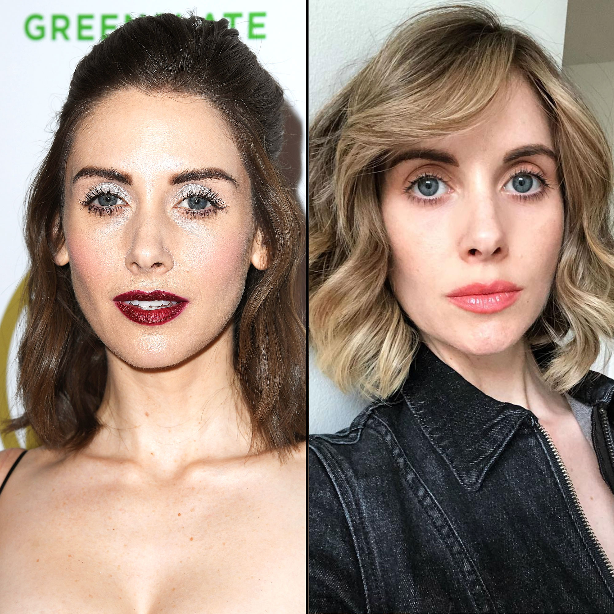 """Alison Brie hairstyle hair transformation - The Glow actress debuted a new bronde (you know, part blonde, part brunette) 'do on Instagram on April 17. """"When your husband asks you to 'go blonde' for a role...you say yes. 😉,"""" she captioned the pic showing off her lighter strands by colorist Clariss Rubenstein."""