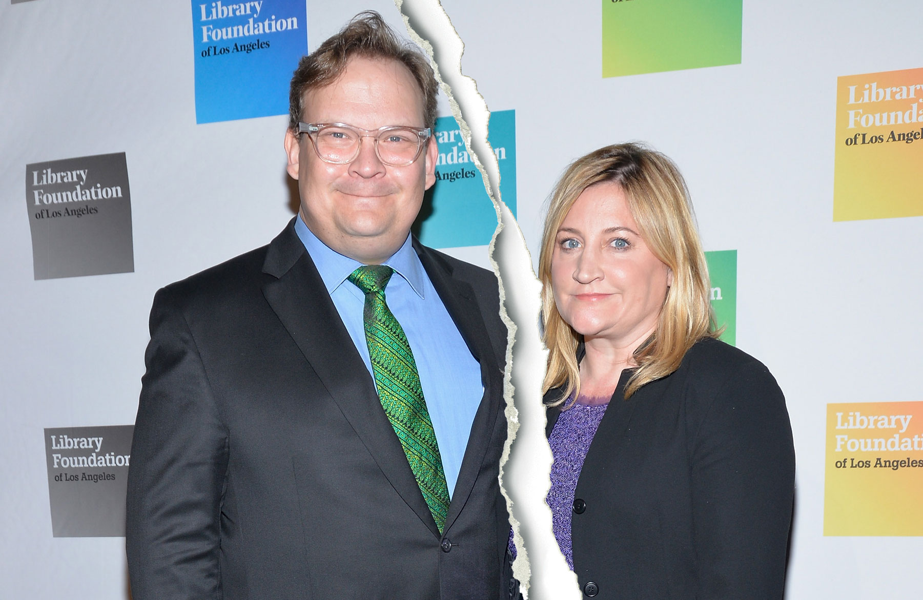 """Andy Richter Sarah Thyre Split - The comedian and his wife split after more than 20 years together. """"It is with sadness that Sarah and I announce that we have separated and have begun divorce proceedings,"""" the Richter, 52, wrote on Twitter in April."""