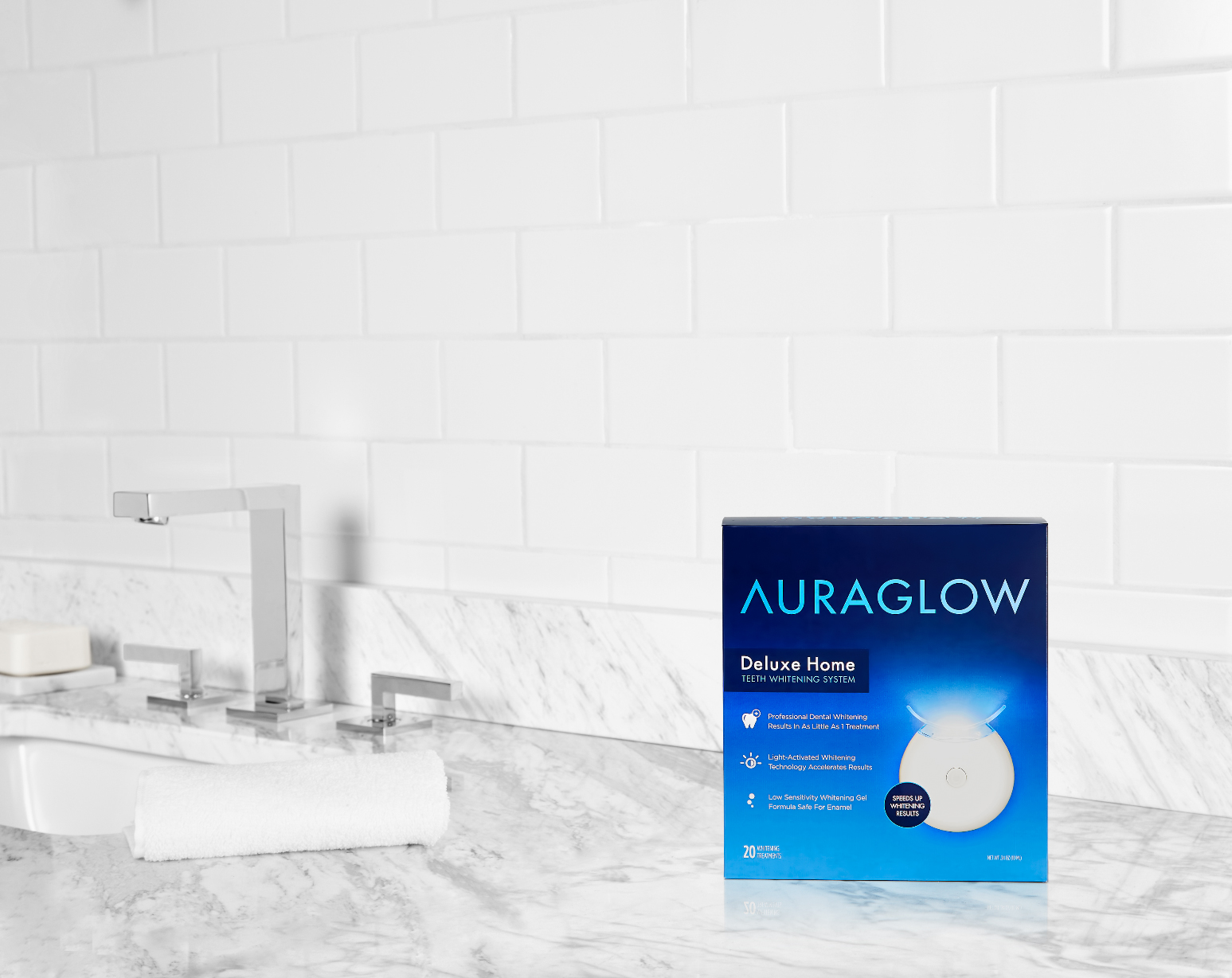 Aura-Flow-Deluxe-Home-Teeth-Whitening-System - Professional whitening gel meets LED light technology to remove stains in just 30 minutes per day. $59.99, auraglow.com