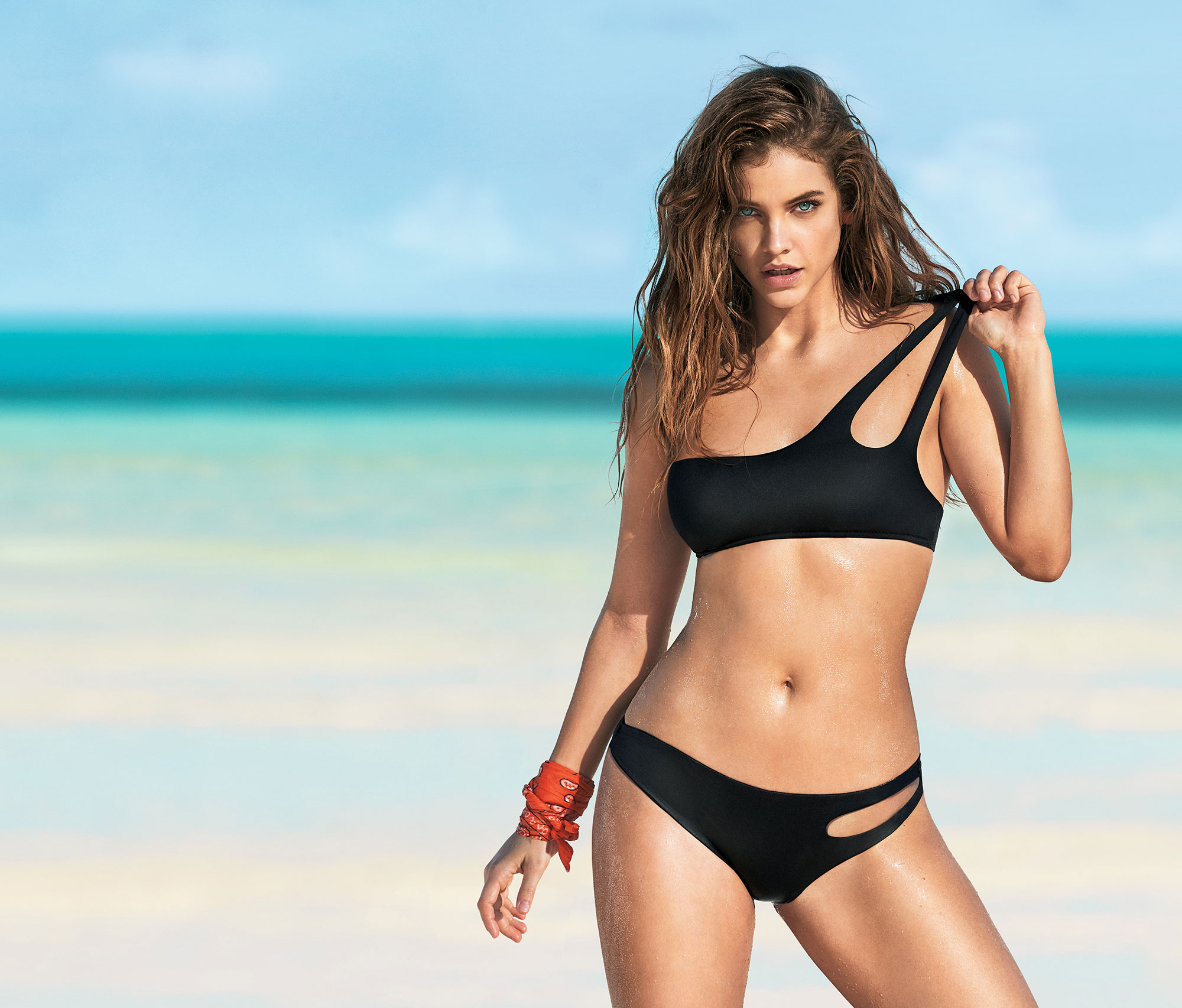 Barbara Palvin Calzedonia Swim beach - There's nothing boring about this all-black-everything cut-out top ($50, us.calzedonia.com ) and bottom ($35, us.calzedonia.com ).