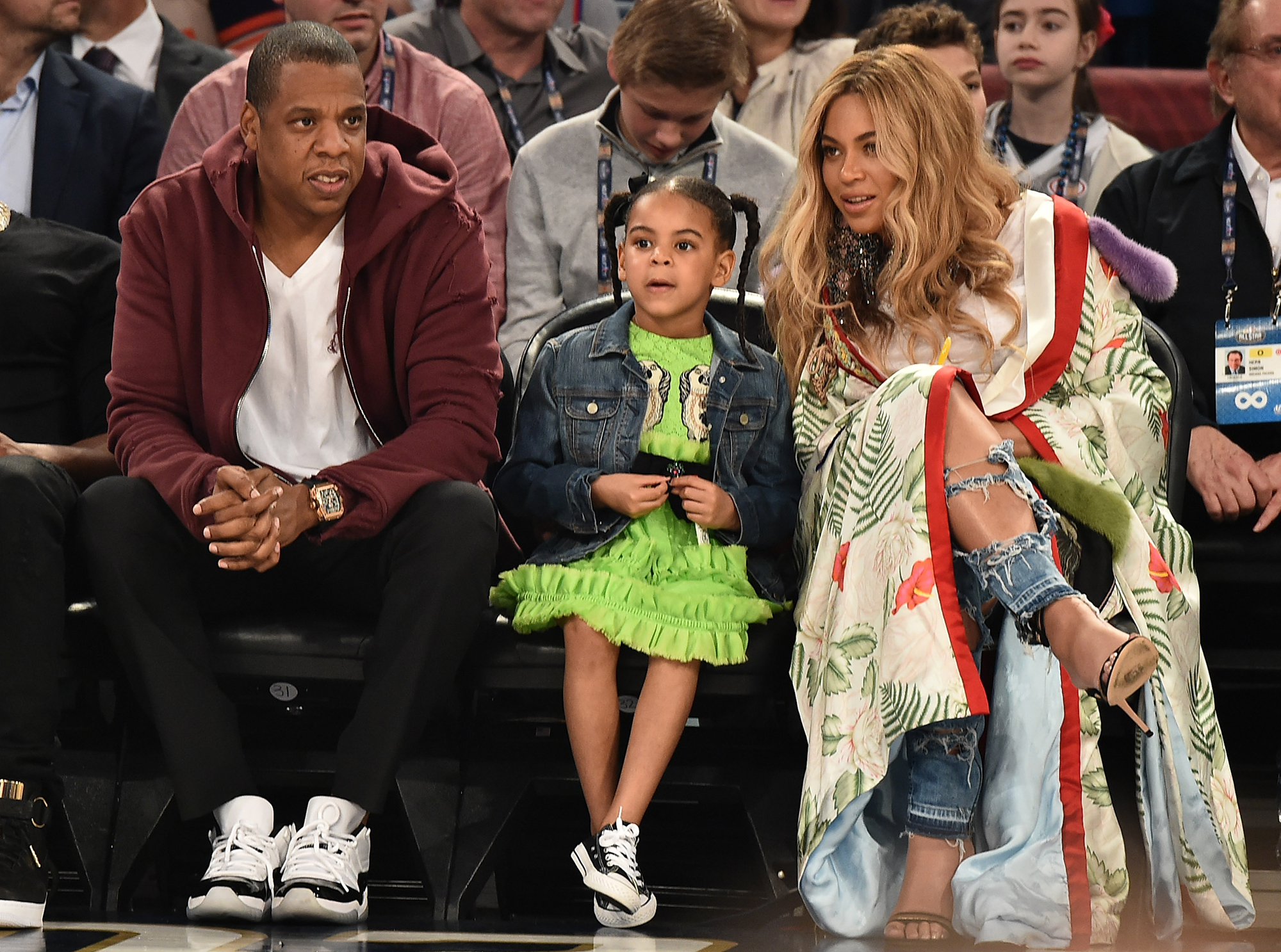 Beyonce Reveals the Super Strict Diet She Started Post-Twins - Jay Z, Blue Ivy Carter and Beyoncé Knowles attend the 66th NBA All-Star Game on February 19, 2017 in New Orleans, Louisiana.