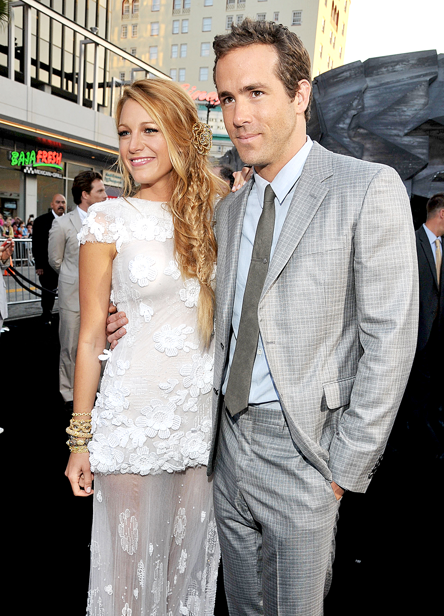 Blake-Lively-Ryan-Reynolds-June-15,-2011 - The action stars held each other on the red carpet at the premiere of Green Lantern at Grauman's Chinese Theater in Hollywood on June 15, 2011. Lively looked stunning in a white floral Chanel dress.