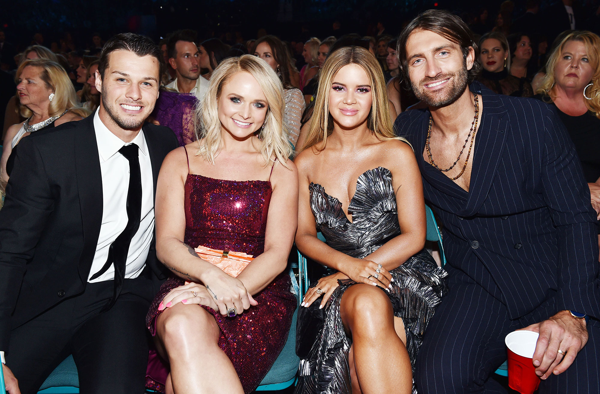 Inside ACM Awards 2019 Brendan McLoughlin Miranda Lambert Maren Morris Ryan Hurd - Lambert and McLoughlin spent time chatting with Maren Morris and Ryan Hurd .