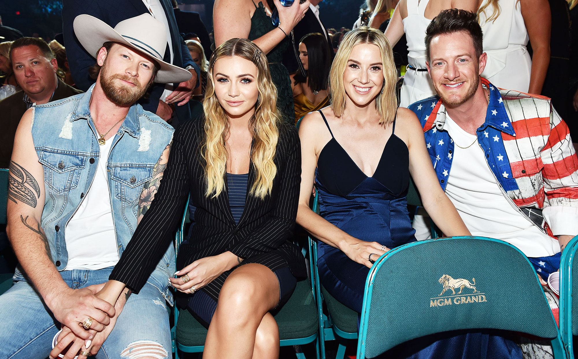 Inside ACM Awards 2019 Tyler Hubbard Brian Kelley Brittney Kelley Hayley Hubbard - Hubbard and his wife, Hayley, sat beside Kelley and his wife, Brittney.