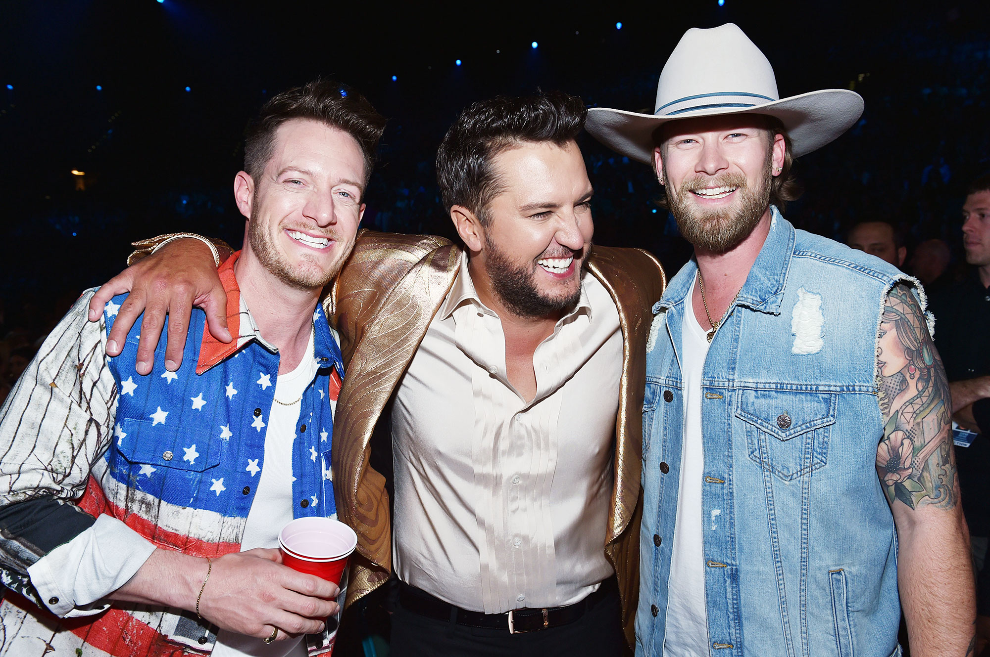 Inside ACM Awards 2019 Tyler Hubbard Brian Kelley Luke Bryan - Florida Georgia Line's Tyler Hubbard and Brian Kelley had a blast with Bryan.