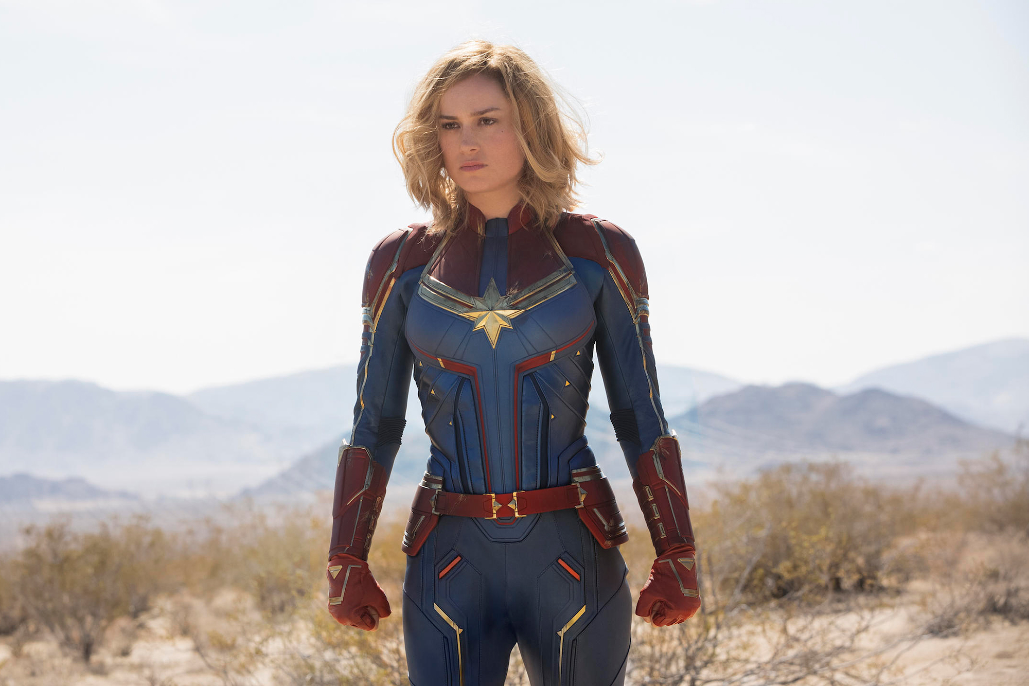 stars as superheroes Brie Larson - Brie Larson in Captain Marvel.