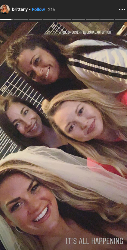 Brittany Cartwright bachelorette weekend-01 - Cartwright posed alongside her loved ones in a selfie shared on her Instagram Story .