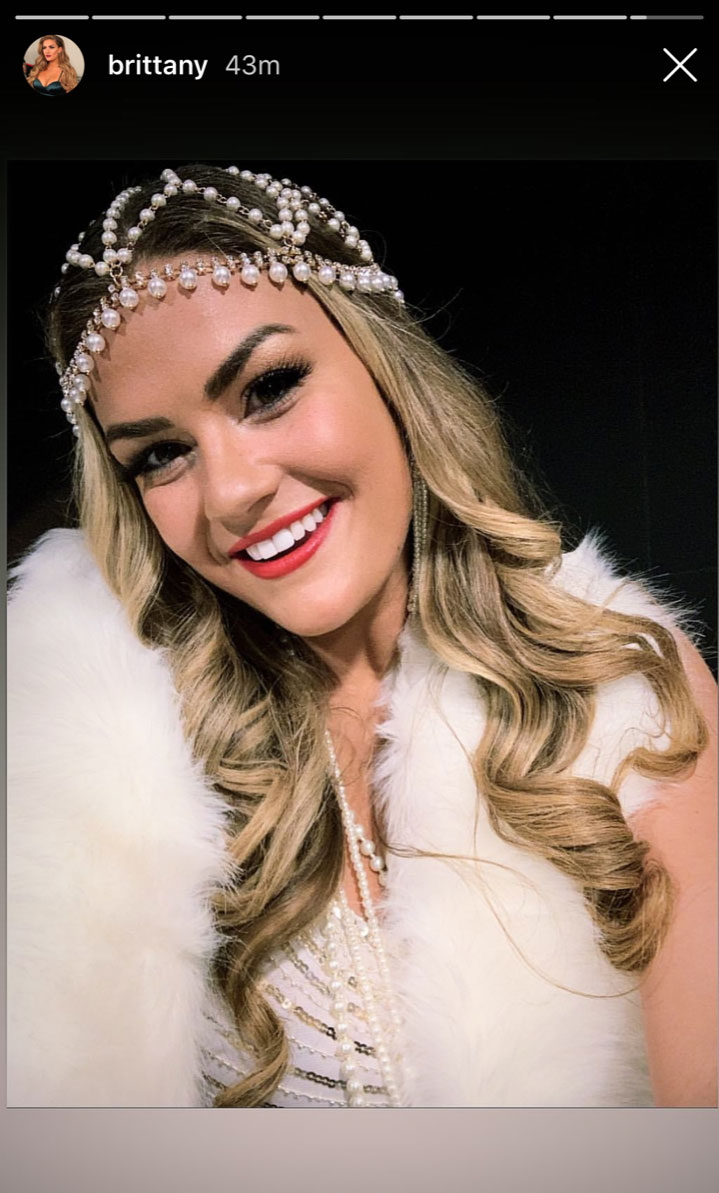 Brittany Cartwright bachelorette weekend-01 - Cartwright glammed up in flapper-inspired garb in an Instagram Story selfie shared on Saturday, April 20.