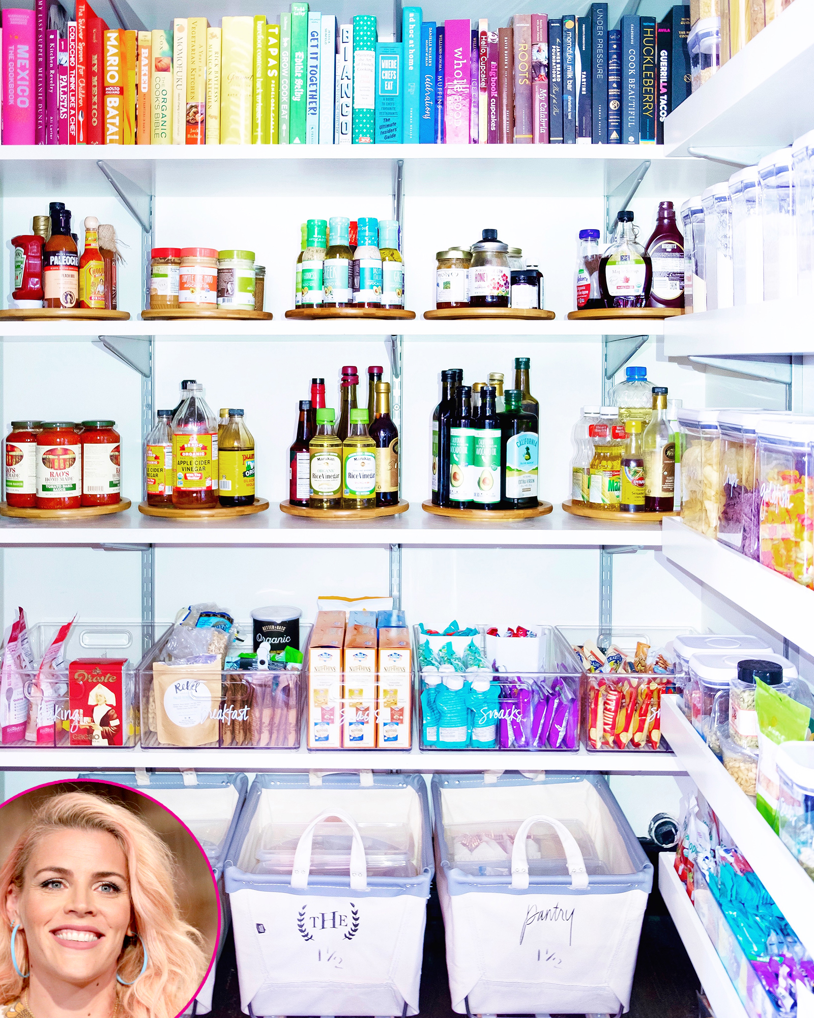 Busy-Philipps - The matching mini-lazy Susans and colorful collection of cookbooks in the Busy Tonight host's pantry have Us practically salivating.