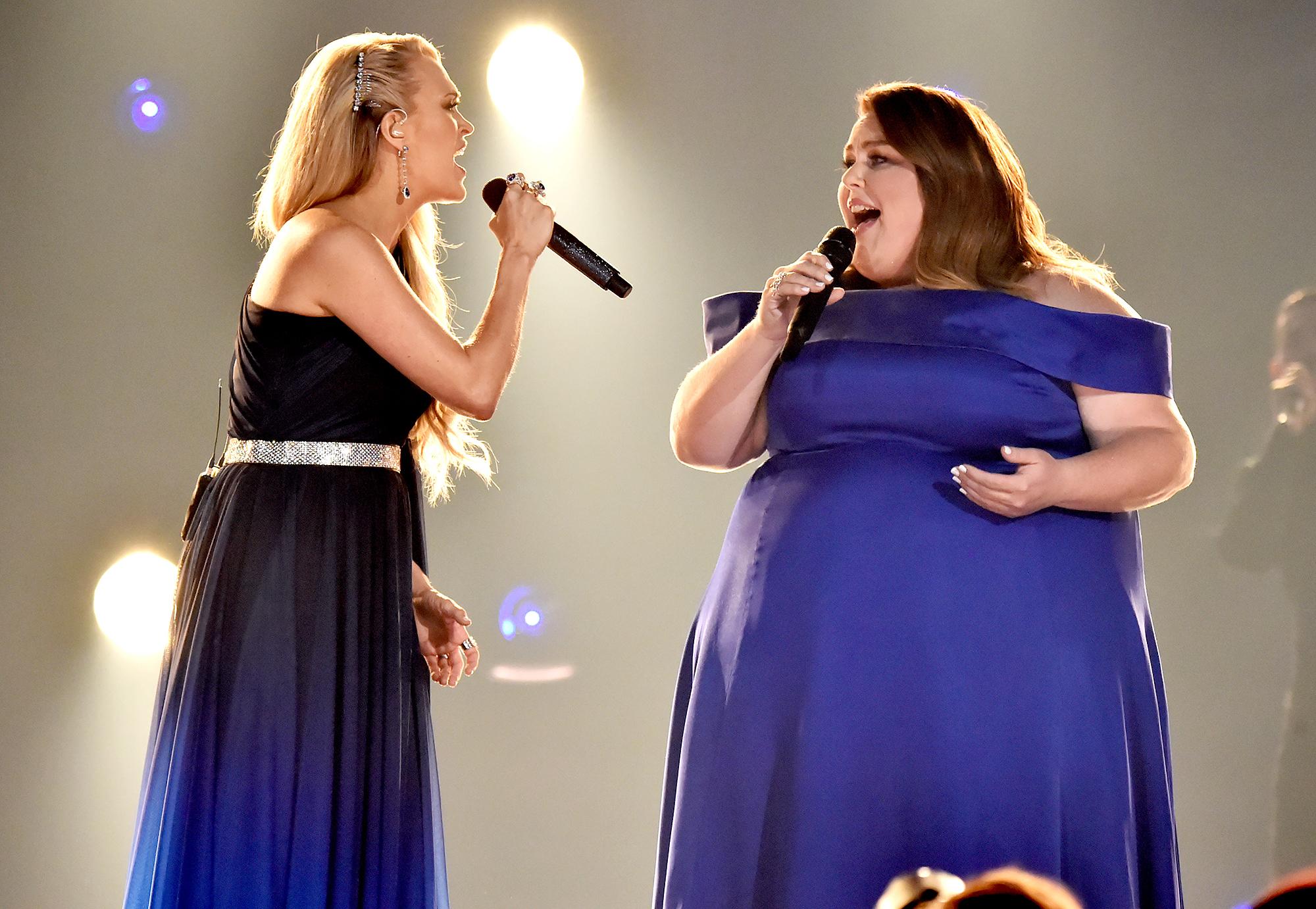 Carrie-Underwood-Chrissy-Metz-ACM-performing