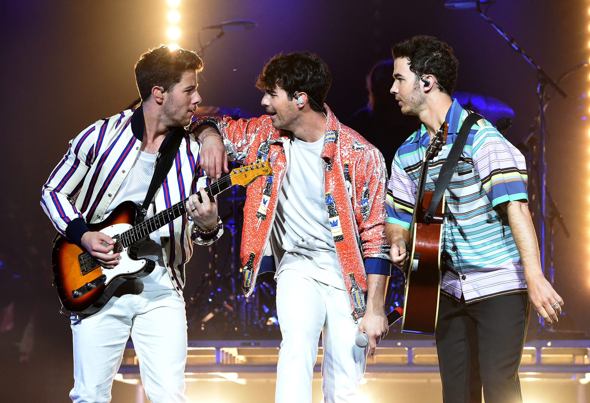 """Celebrity Siblings - Nick , Joe and Kevin shot to fame together as pop group the Jonas Brothers in 2005 thanks to their heavy rotation on the Disney channel. They reunited in February 2019 after taking a six-year hiatus, and debuted a brand new single called """"Sucker,"""" the video for which featured their respective significant others — Priyanka Chopra Jonas , Sophie Turner and Danielle Jonas ."""