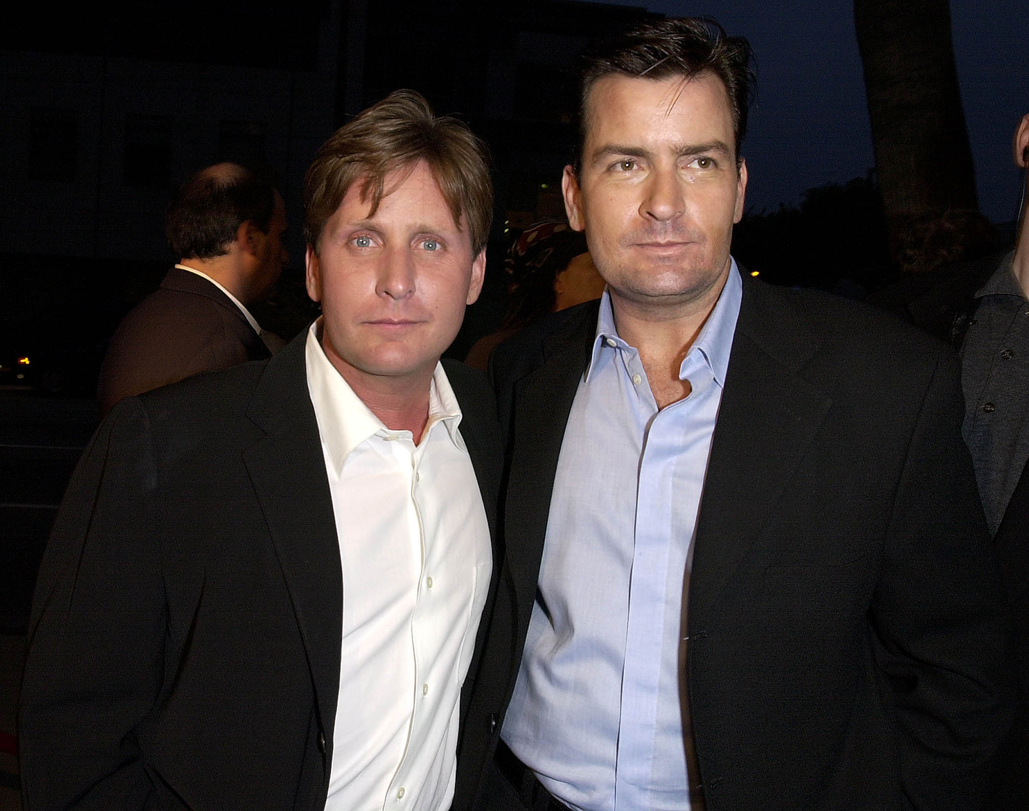"""Celebrity Siblings - Sheen , of Major League and Two and Half Men fame shares parents Martin and Janet Sheen with The Mighty Ducks ' Estevez . The latter has said that he's """"proud"""" of Sheen for his November 2015 admission that he is HIV-positive and hinted that the two will work together in the future."""