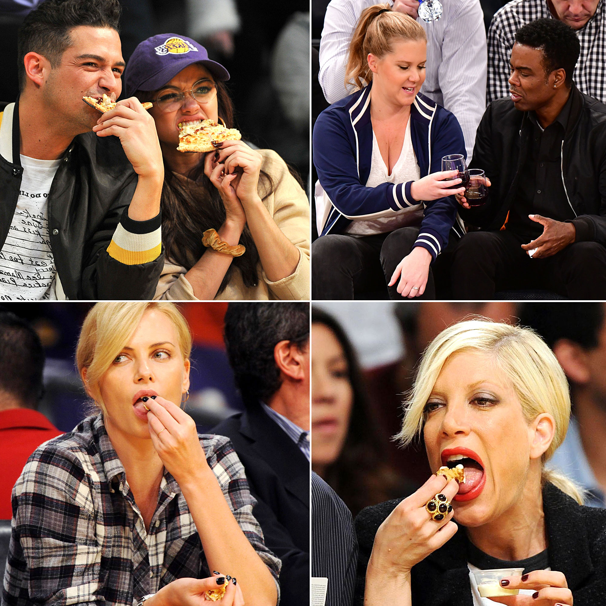 Celebs Eating Courtside - Snacking courtside is an art form. While some stars don't seem to mind if photographers snap away while they're feasting on concession treats, others (likely aware that there are cameras on them) pick skillfully at their food.