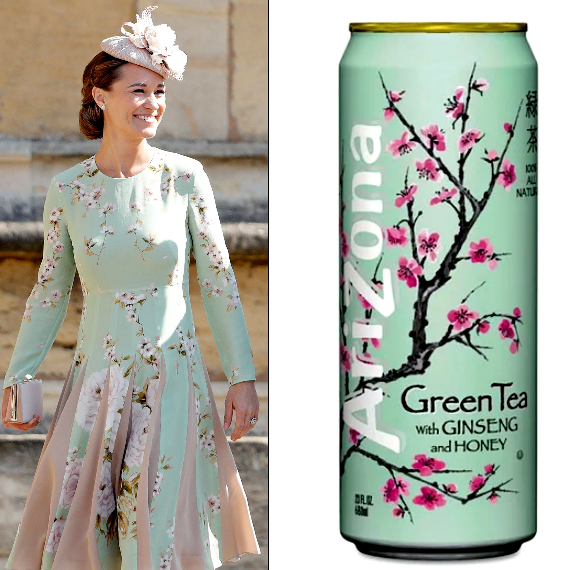 Celebs Who Have Looked Like Food - Kate Middleton's younger sister turned heads in May 2018 when she showed up to Prince Harry and Meghan Markle's wedding at Windsor Castle wearing a dress that closely resembled a can of Arizona Iced Tea. The royal relative's pale green frock from British brand The Fold featured a delicate floral pattern that reminded many of the similar-looking green tea container.