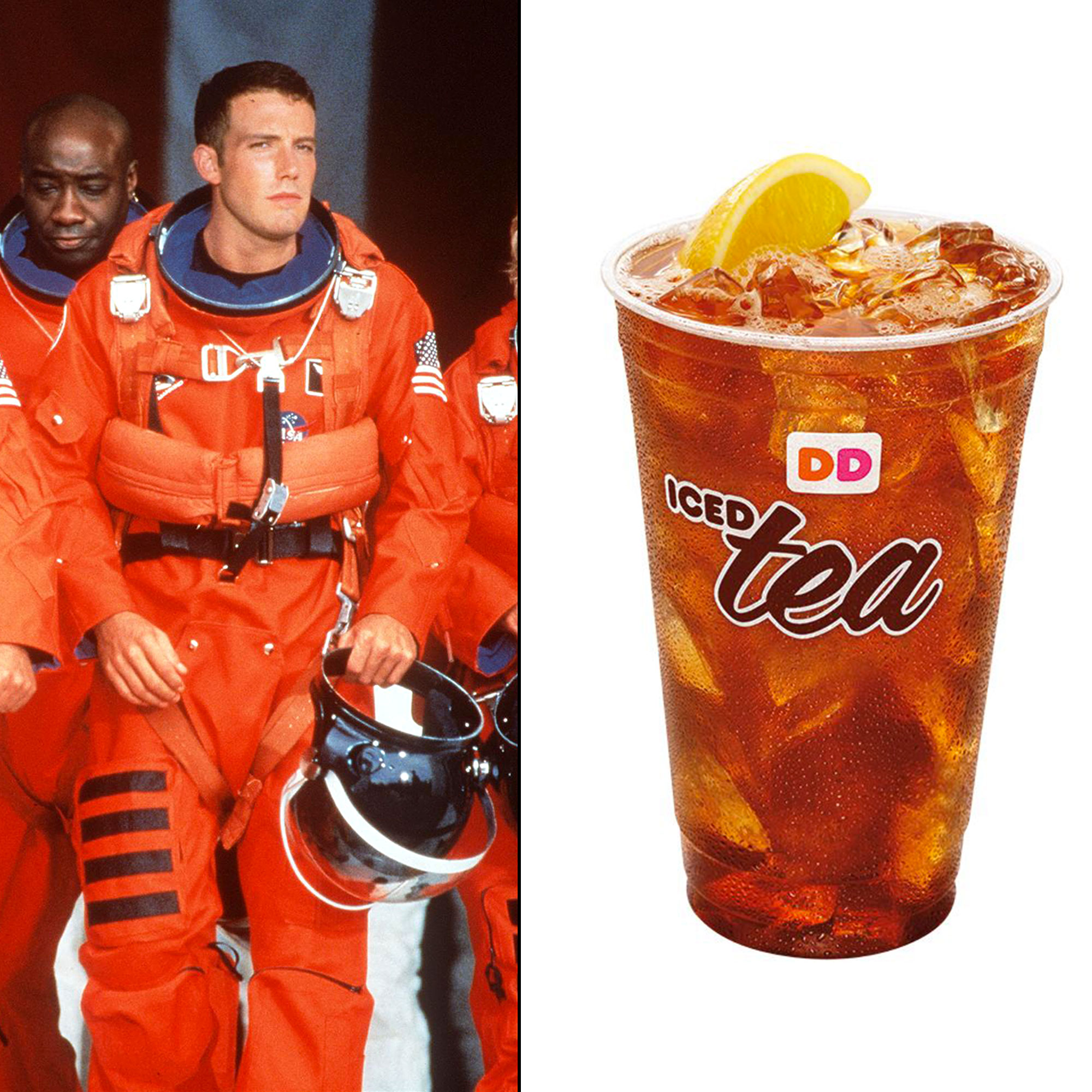 """Celebs Who Have Looked Like Food - The Gone Girl star has not been shy about his love for Dunkin' (formerly Dunkin' Donuts), boasting that he eats it """"every day,"""" and in April 2019 a Twitter user named Amelia Wedemeyer proved via a LOL-worthy Twitter thread that the Boston-bred actor often dresses in outfits that resemble beverages from the Massachusetts-based brand. Case in point: One tweet in Wedemeyer's thread compared a spacesuit-clad A.J. Frost ( Affleck 's character in Armageddon ) to a similarly hued iced tea from Dunkin'."""