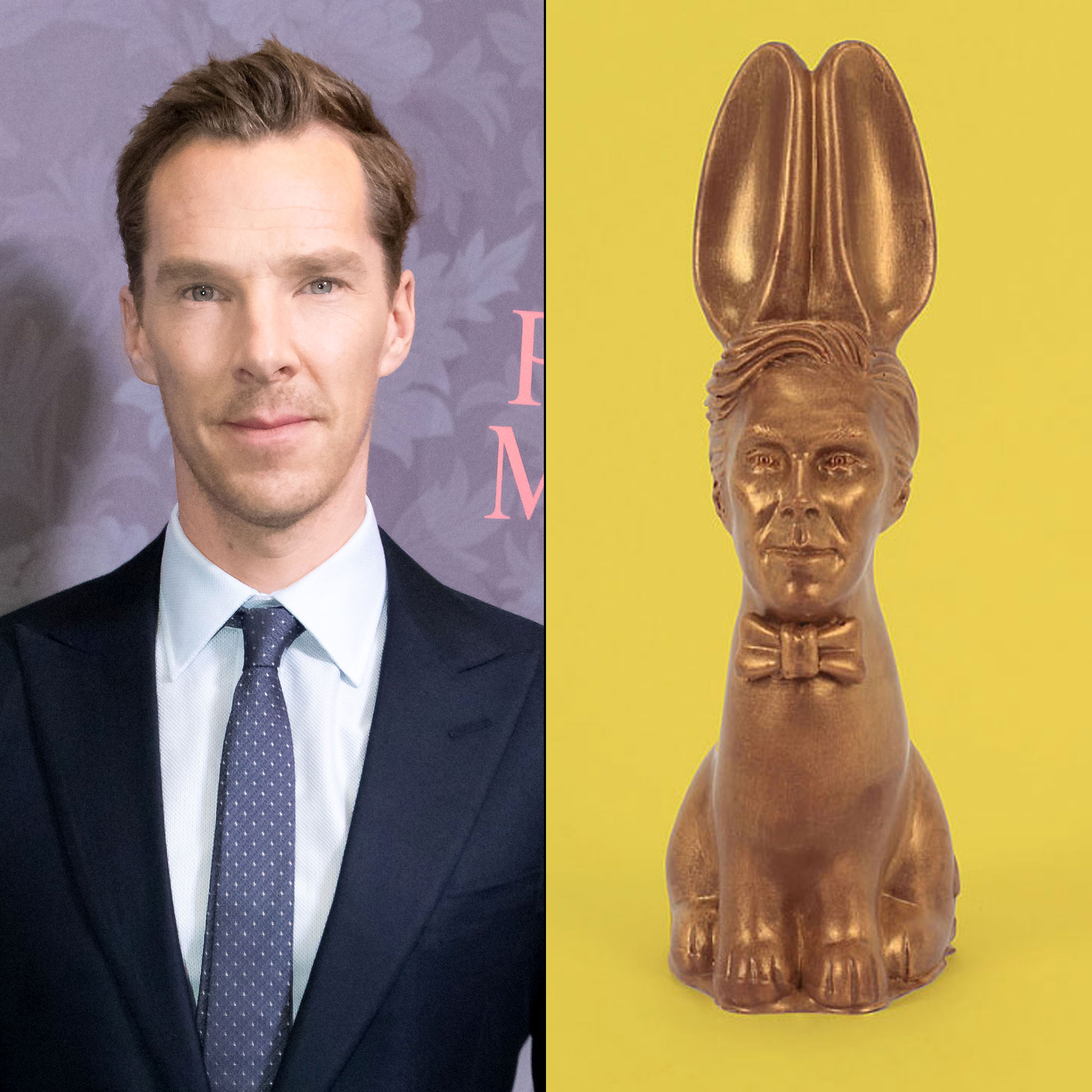 Chocolate Bunny That Looks Like Benedict Cumberbatch Is the Easter Treat You Didn't Know You Needed - Benedict Cumberbatch and a Chocolate Cumberbunny.
