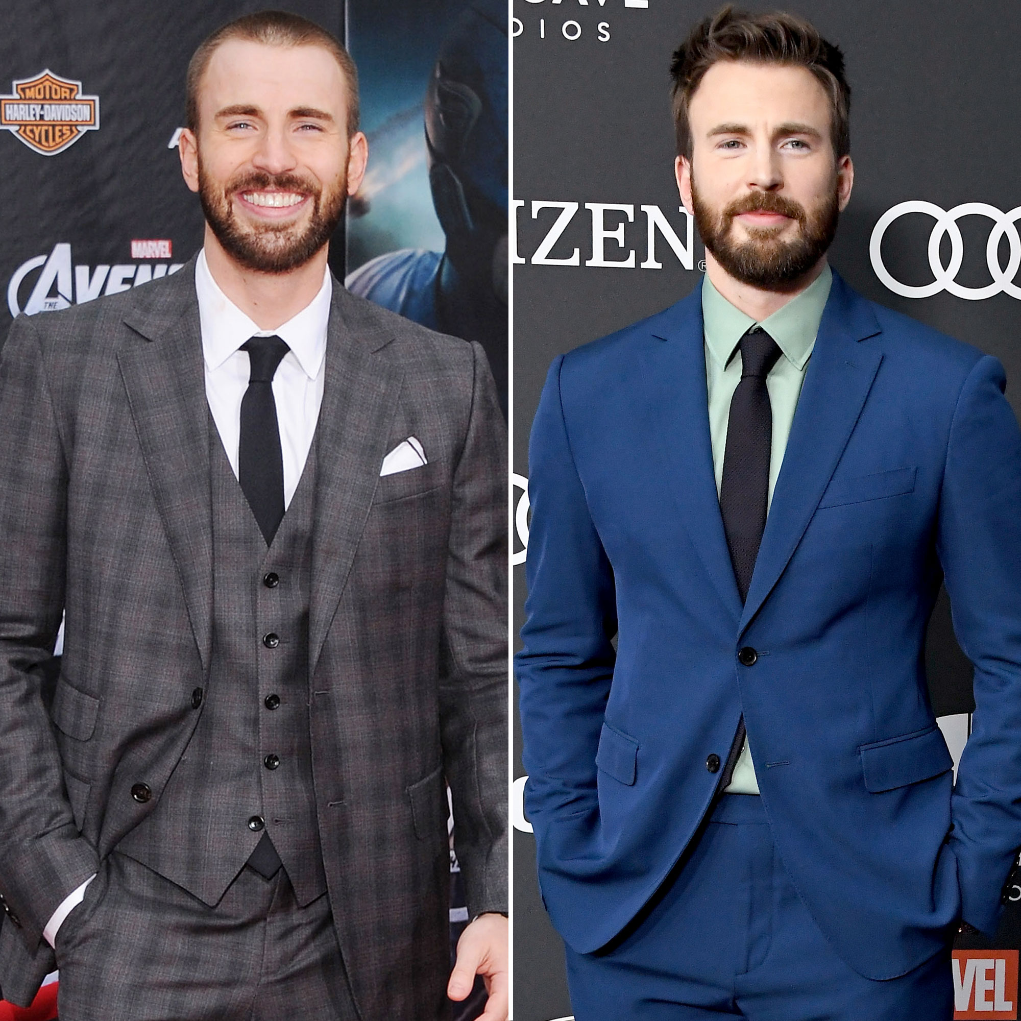 Chris Evans Avengers Premiere First Super Red Carpet to Their Last - Evans was no stranger to the superhero game when he took on the role of Captain America, having starred in Fantastic Four back in the mid-aughts, but he was a stranger to a full head of hair: He once rocked a nearly-shaven head!