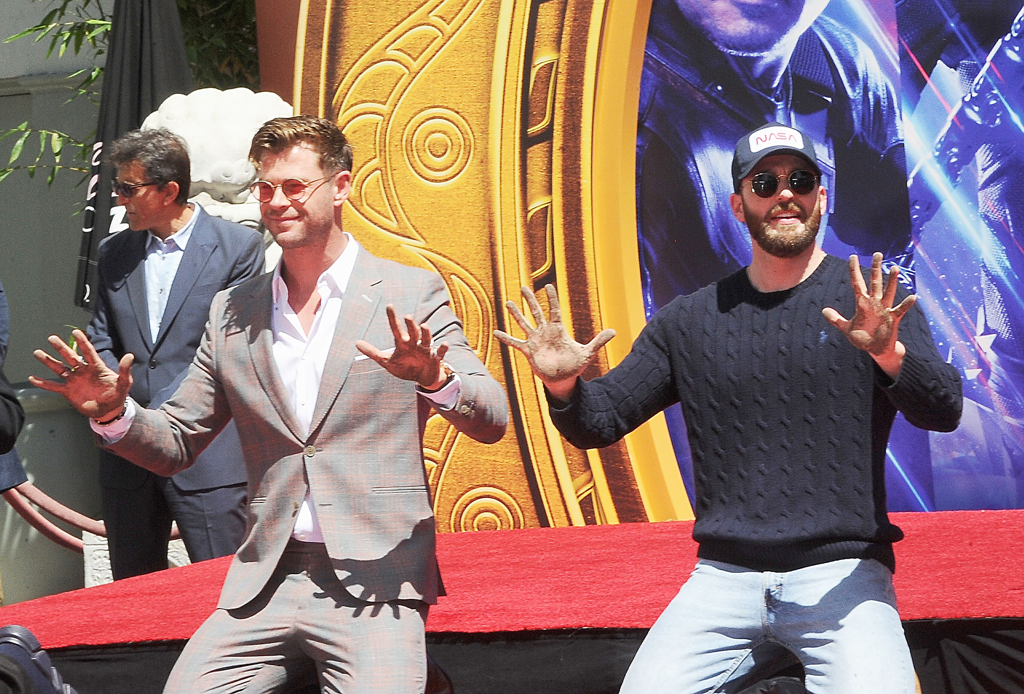"Chris Hemsworth and Chris Evans attend Marvel Studios' ""Avengers: Endgame"" Cast Place Their Hand Prints - Chris Hemsworth and Chris Evans attend Marvel Studios' ""Avengers: Endgame"" Cast Place Their Hand Prints In Cement At TCL Chinese Theatre IMAX Forecourt held at TCL Chinese Theatre IMAX on April 23, 2019 in Hollywood, California."