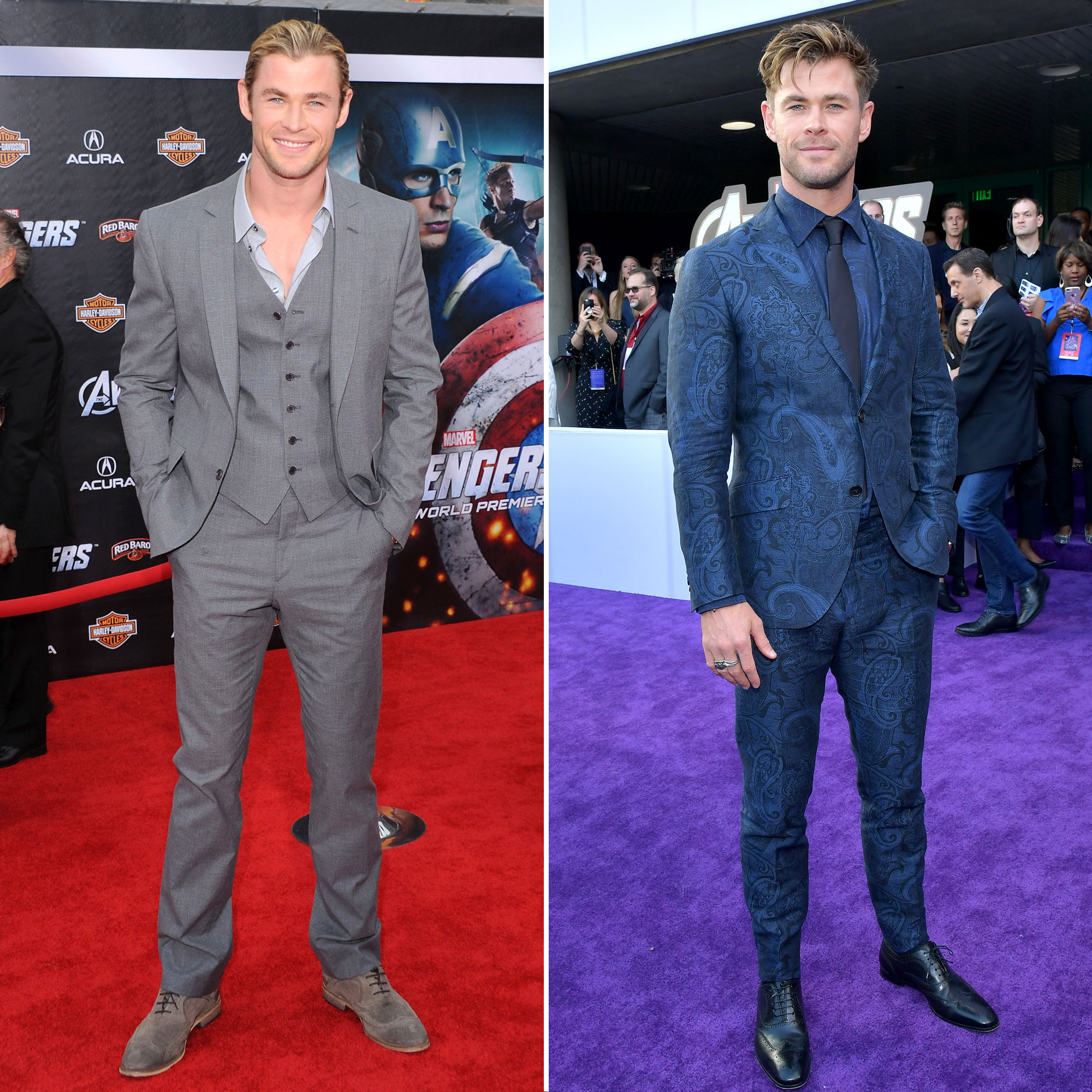 """Chris Hemsworth Avengers Premiere First Super Red Carpet to Their Last - The other Chris, who appeared to forget the """"t"""" in his name while leaving his hand imprint outside of Hollywood's TCL Chinese Theatre on April 24, already played Thor prior to starring in The Avengers . He seems to have stepped up his style game with some added flair since 2012, however, replacing his play gray suit and matching kicks for a blue paisley tux and shiny black dress shoes."""