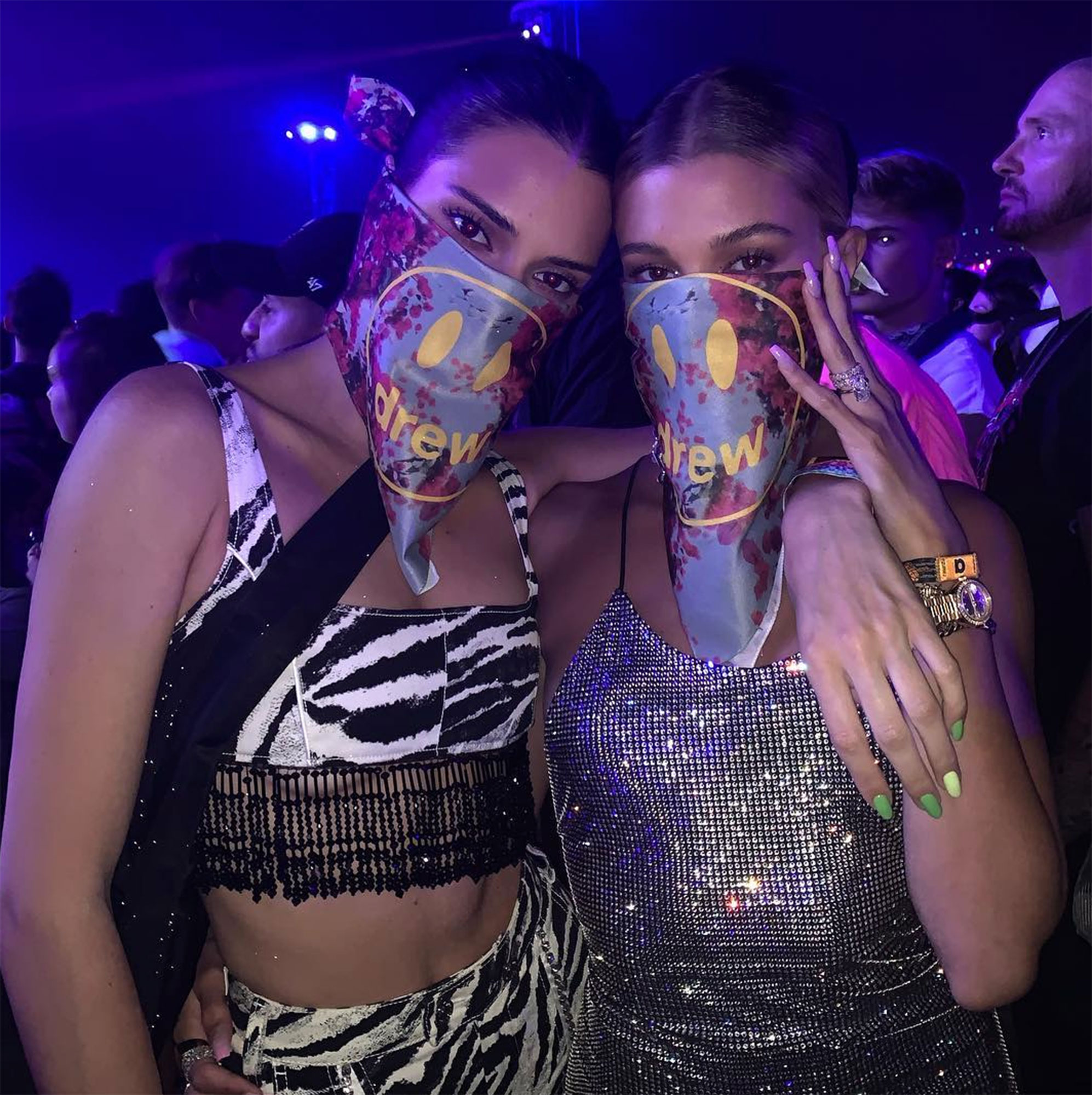 "Hailey Baldwin, Kendall Jenner coachella - ""Gang's back,"" the Drop the Mic host's husband, Justin Bieber , captioned a snap of the model pals donning matching face scarves over glitzy ensembles, with Hailey in a silver sequin dress and Jenner in a two-piece zebra-print getup with beaded tassels."