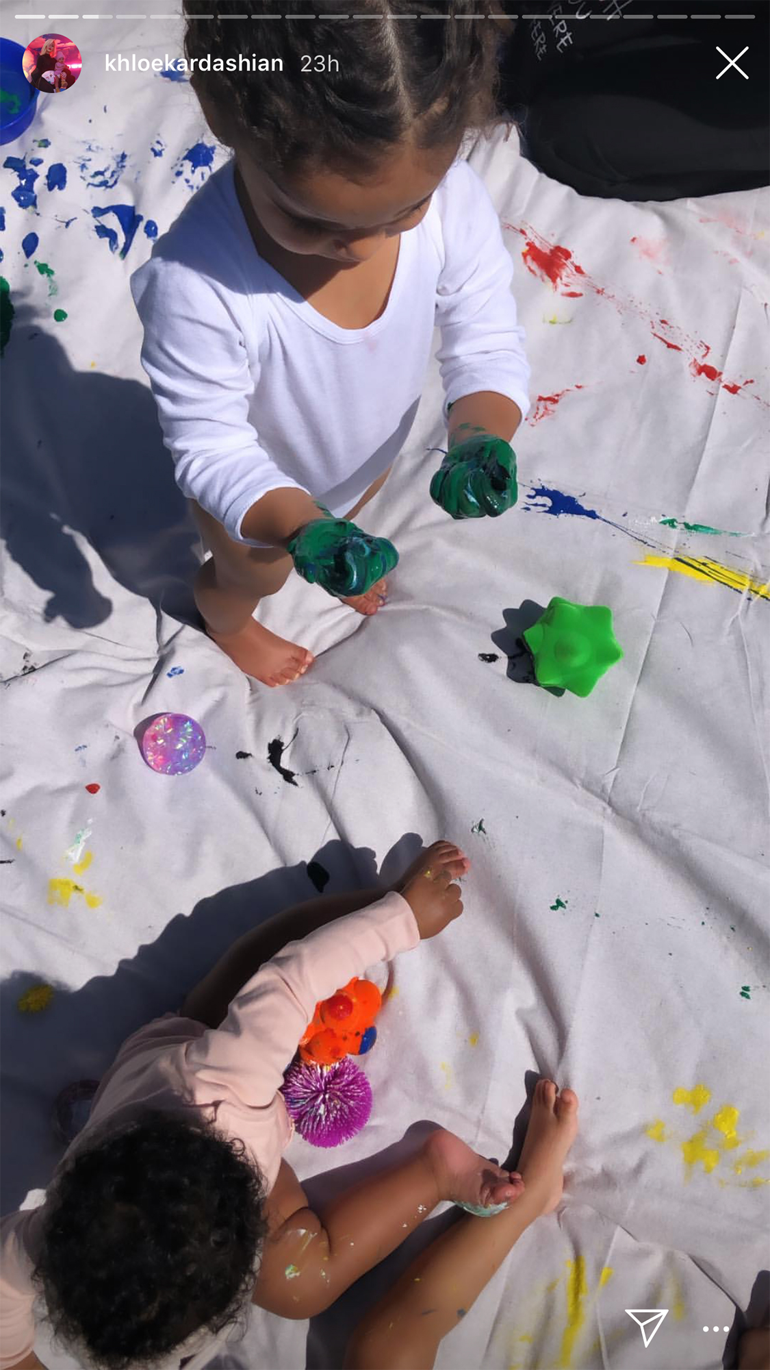 "Cutest Kardashian Kids Moments - Khloé Kardashian shared photos of True and Dream's ""messy art and sensory class day"" in April 2019 as the baby girls covered themselves with colorful paints."