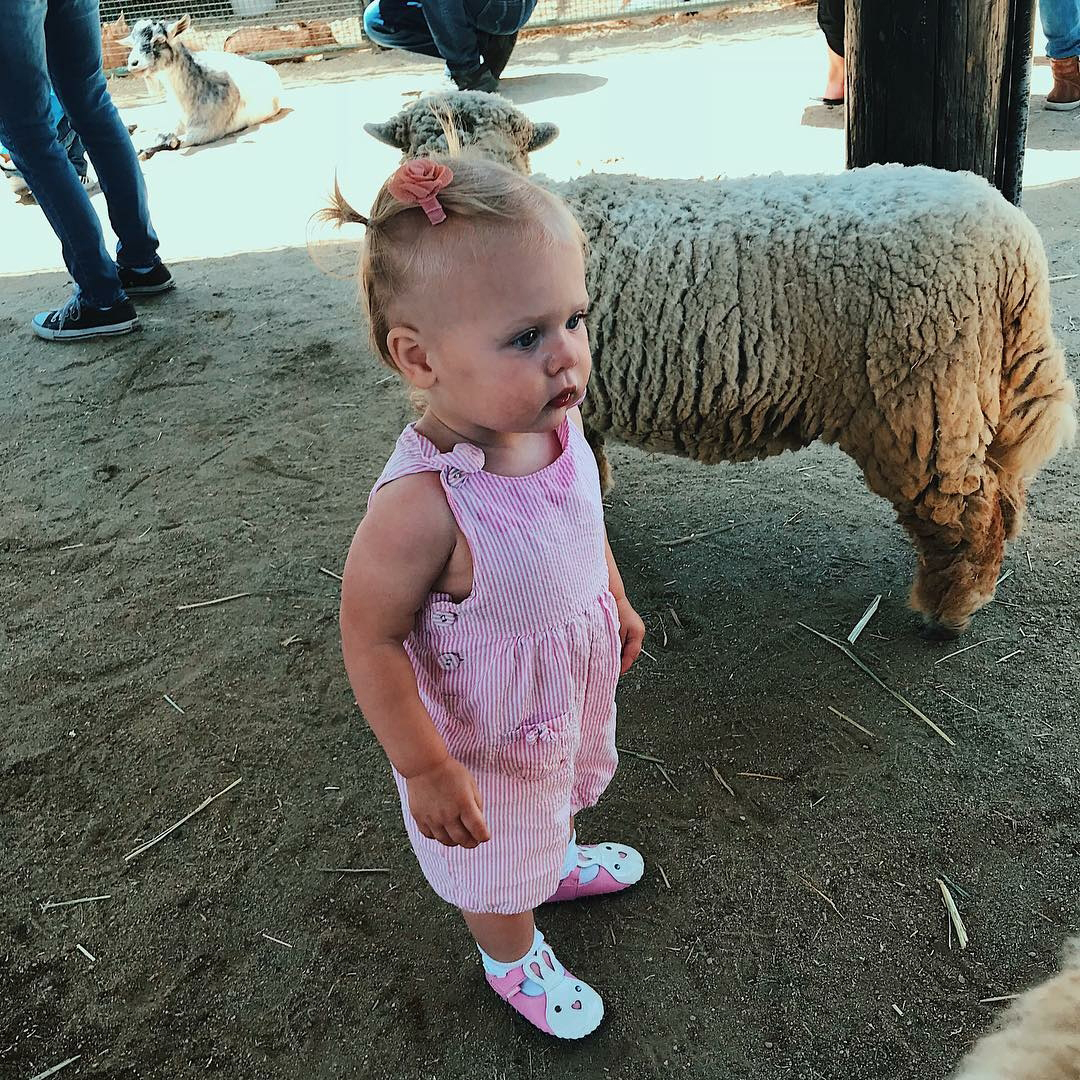 "Easter Kids - ""Doesn't know how she feels about these sheep,"" April Love Geary captioned a photo of her and Robin Thicke 's 13-month-old daughter in pink overalls and bunny shoes."