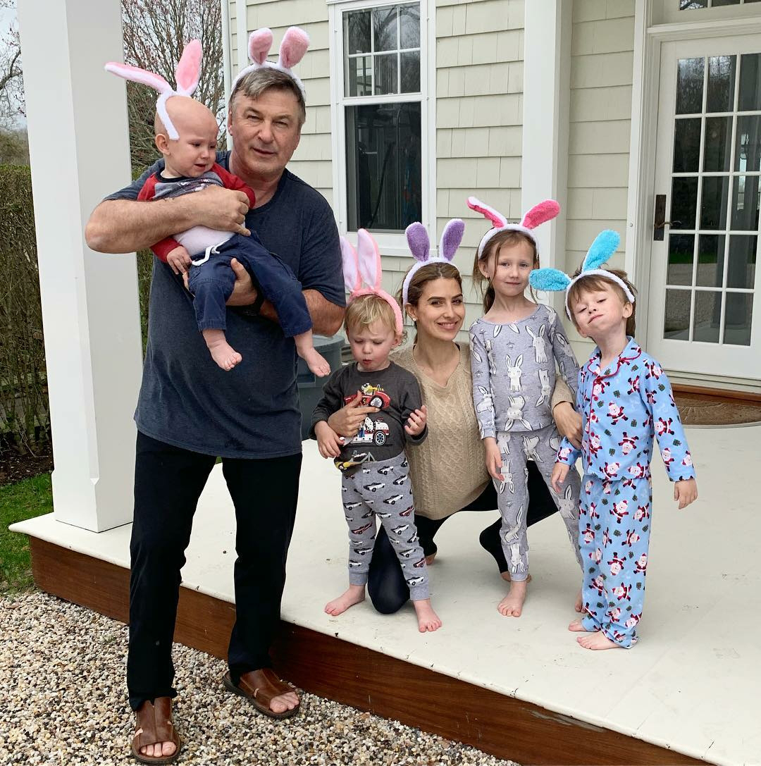 Easter Kids - Hilaria Baldwin and the Saturday Night Live star, 61, rocked bunny ears with all four of their little ones.