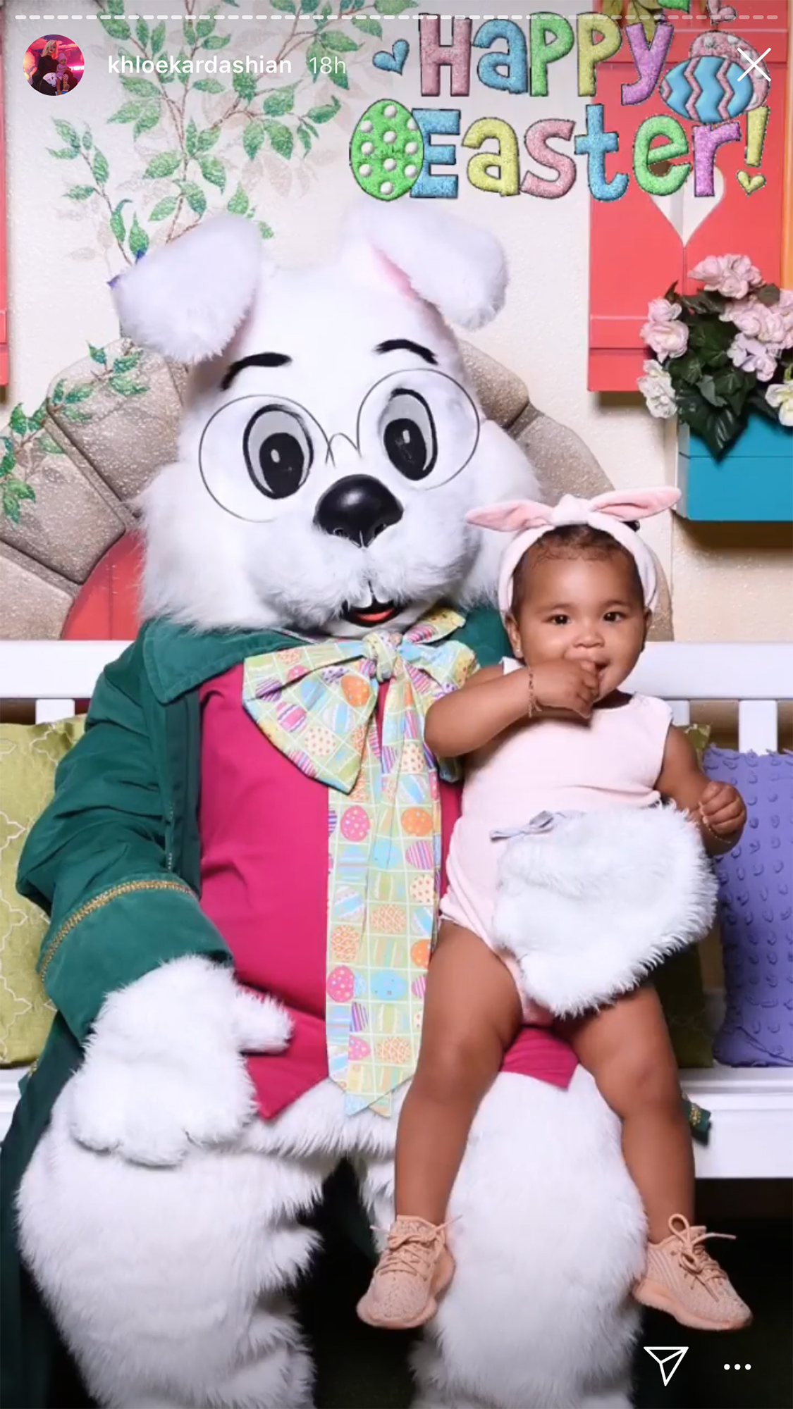 Easter Kids - The little one searched for eggs in a white and gold ensemble after visiting the Easter Bunny.