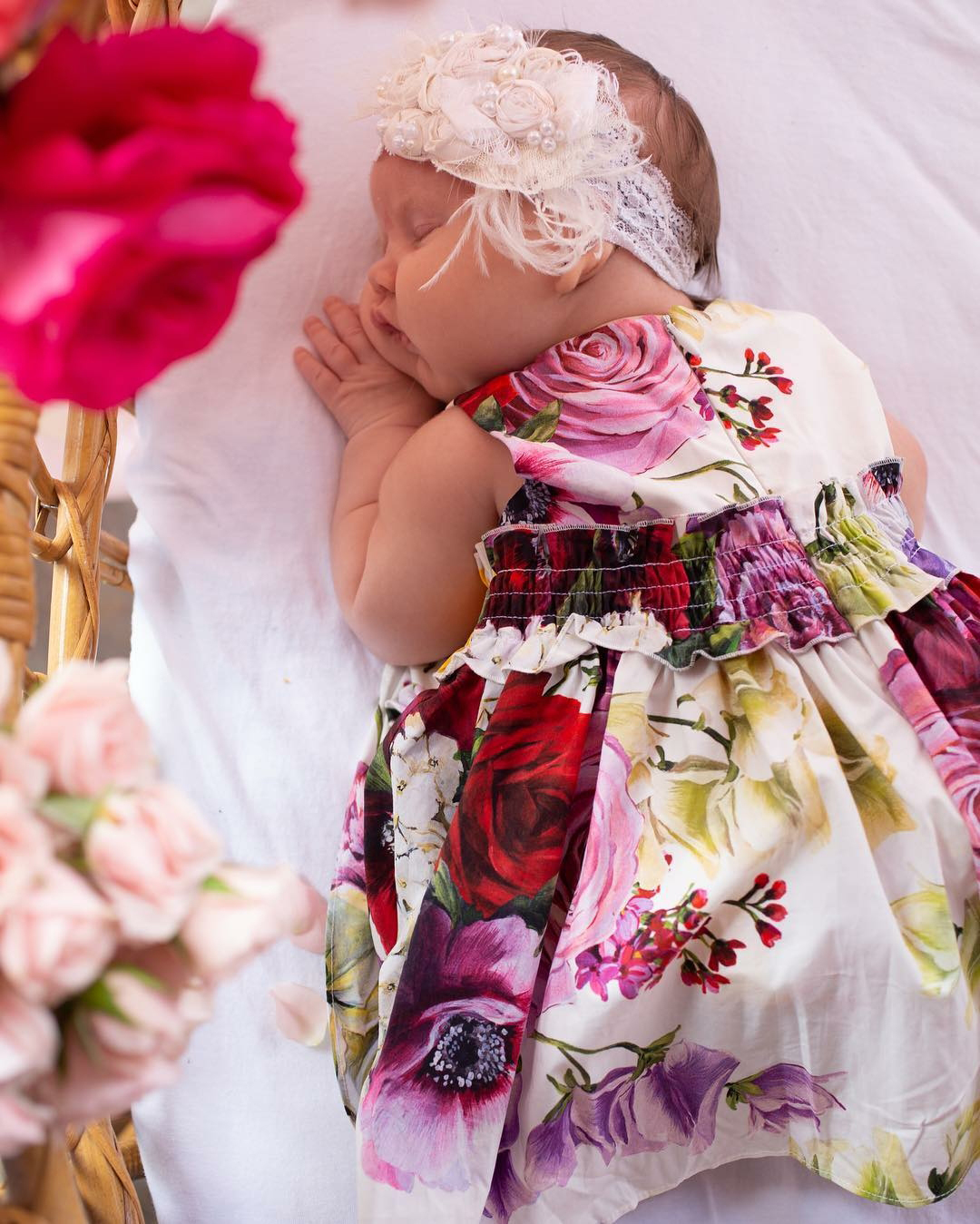 Easter Kids - Jessica Simpson 's 1-month-old daughter slept on Easter Sunday in a floral dress.