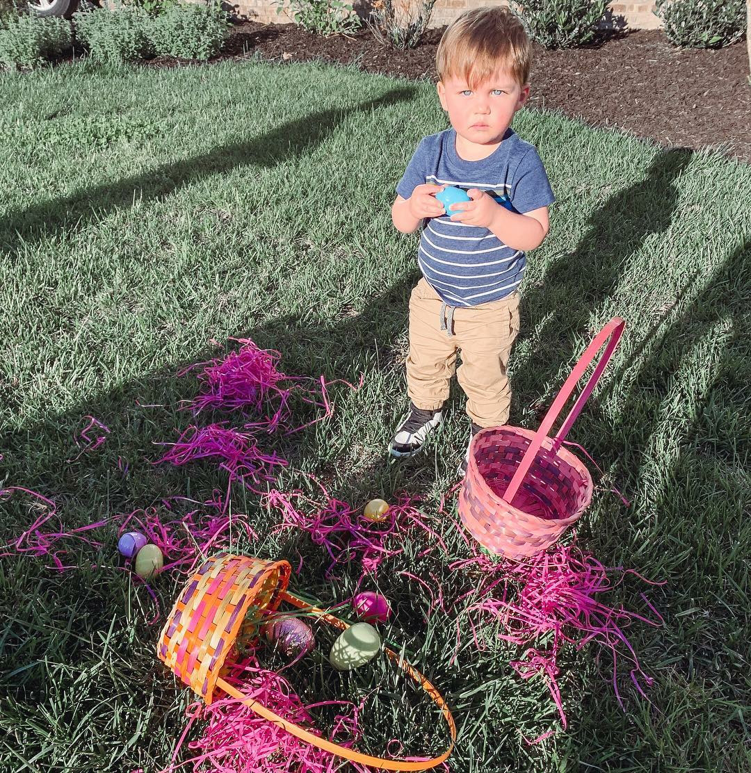 Easter Kids - Brittany and Jason Aldean 's 15-month-old son opened up his Easter eggs.