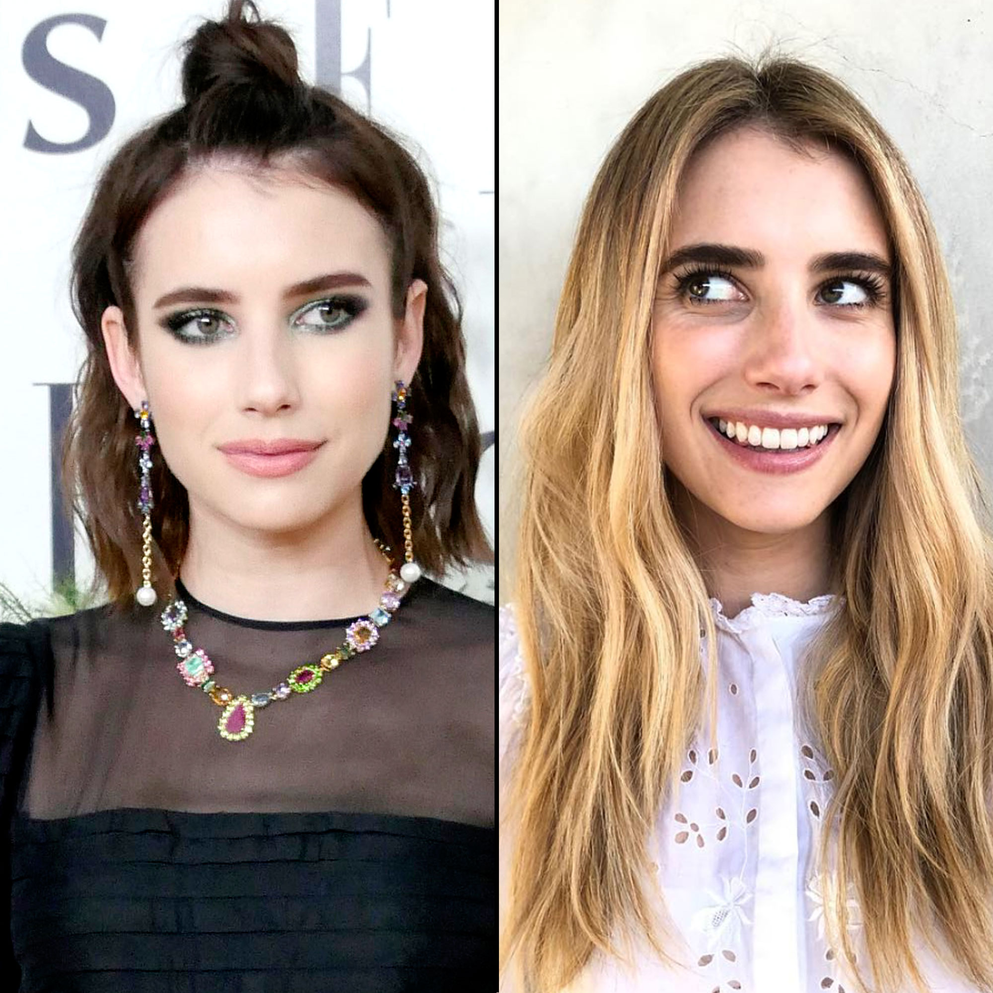 """Emma Roberts new hair transformation - Rocking fresh long strands, the American Horror Story actress showed off her lighter """"sunrise blonde"""" shade just in time for summer on April 25."""