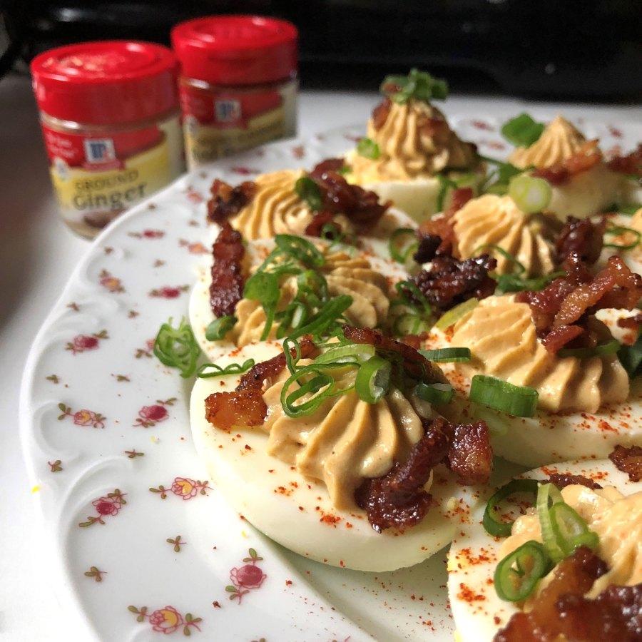 Fiery Bacon Deviled Eggs Chef Alex Guarnaschelli