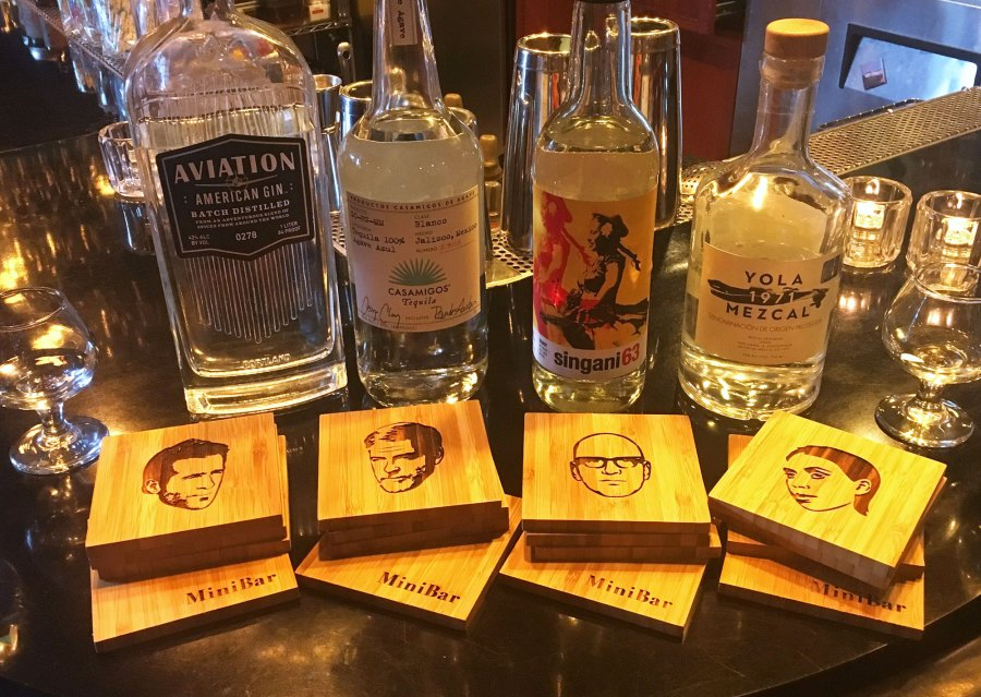 Aviation Gin, Casamigos Tequila, Singani 63 and Yola Mezcal This 'Flight of Famous Faces' at MiniBar Hollywood Lets Customers Blindly Match a Celeb to Their Liquor