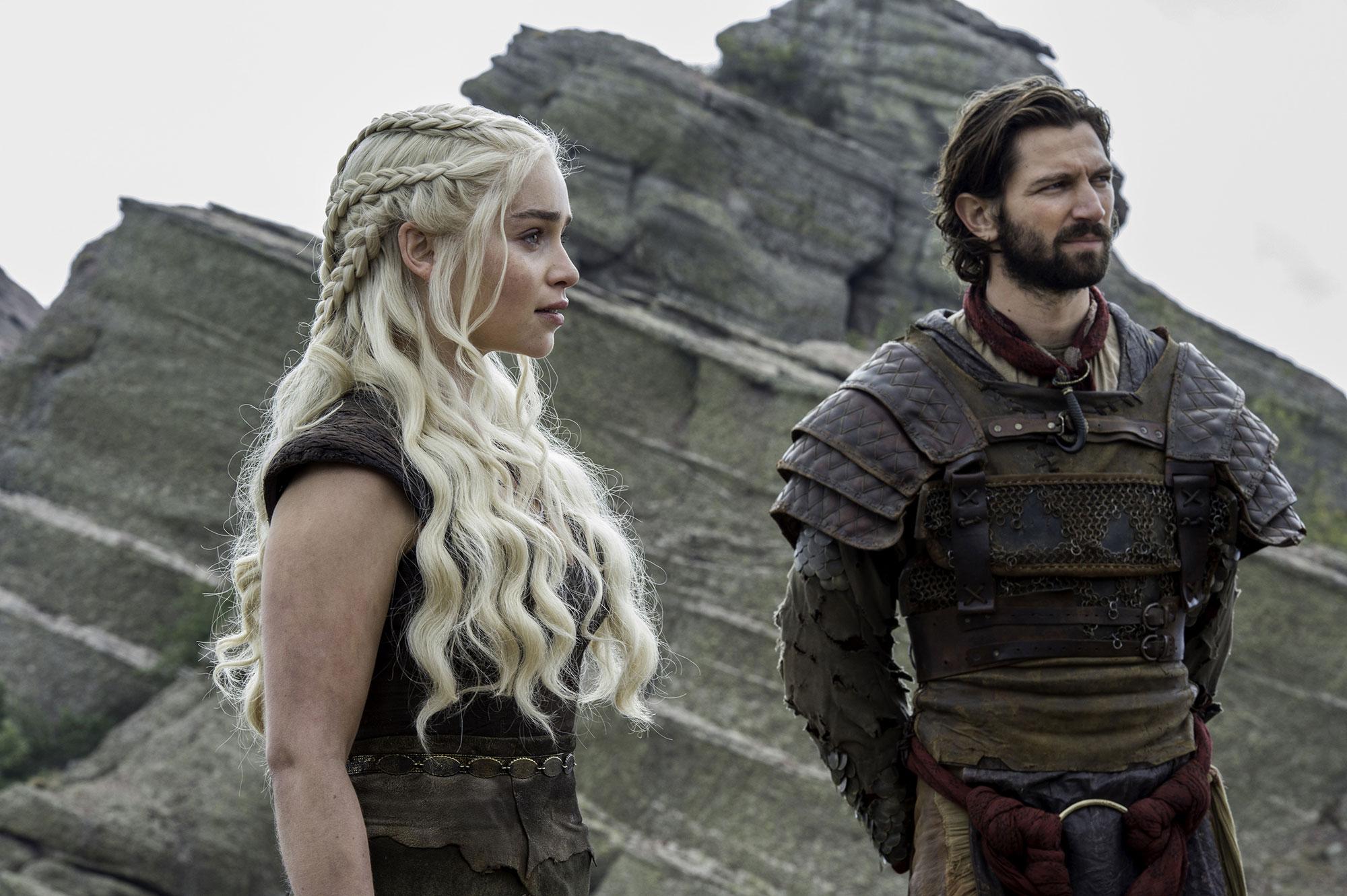 Game of Thrones braids hairstyles hair Emilia Clarke, Michiel Huisman - Showing off that enviable length, Khaleesi rocked an array of Dutch plats with her wavy, waist-grazing locks in season six.