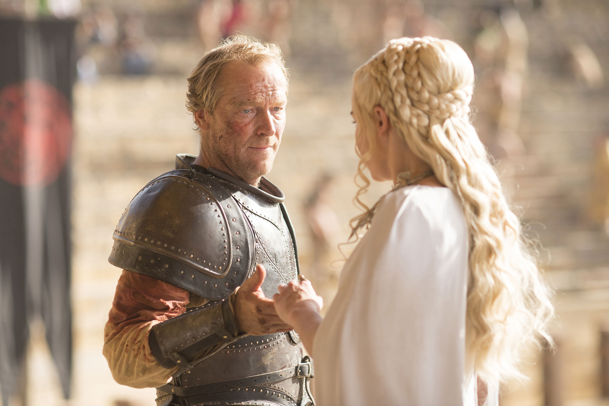 Game of Thrones braids hairstyles hair Iain Glen, Emilia Clarke - We love the crown-like quality of Dany's regal bun from season five.