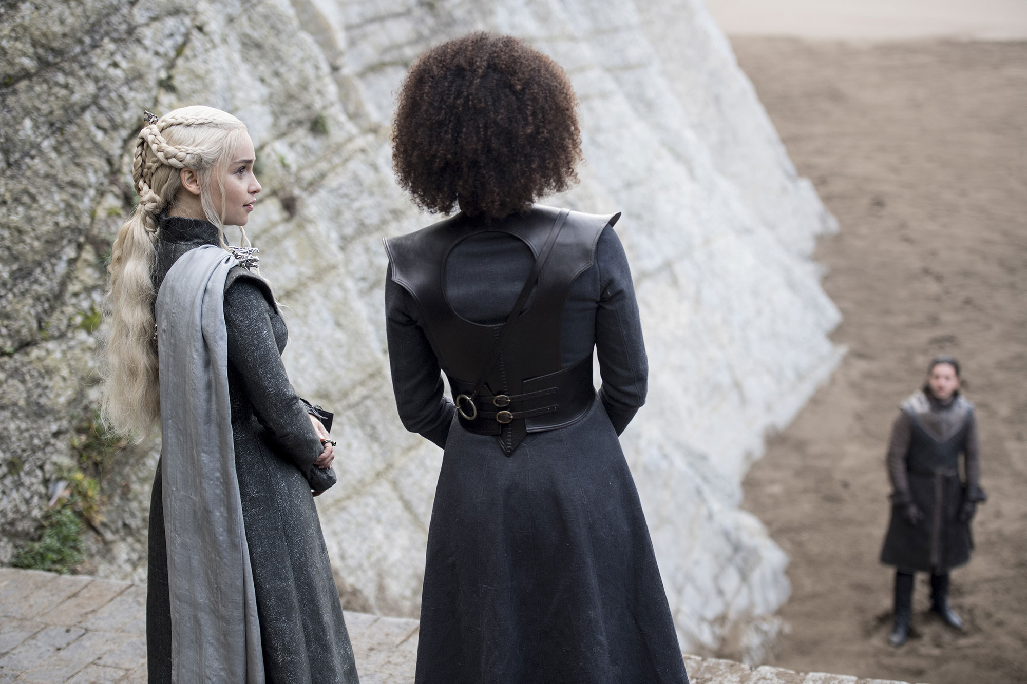 Emilia Clarke Game of Thrones braids hairstyles hair Nathalie Emmanual & Kit Harrington - Overlapping braids added some edge to her simple low ponytail in season seven.