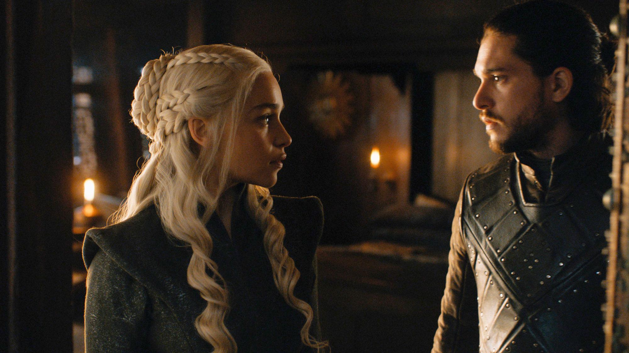 Game of Thrones braids hairstyles hair Emilia Clarke, Kit Harington - For a warrior-worthy twist on a classic ballerina bun, Khaleesi wrapped several plaits around each other in season seven.