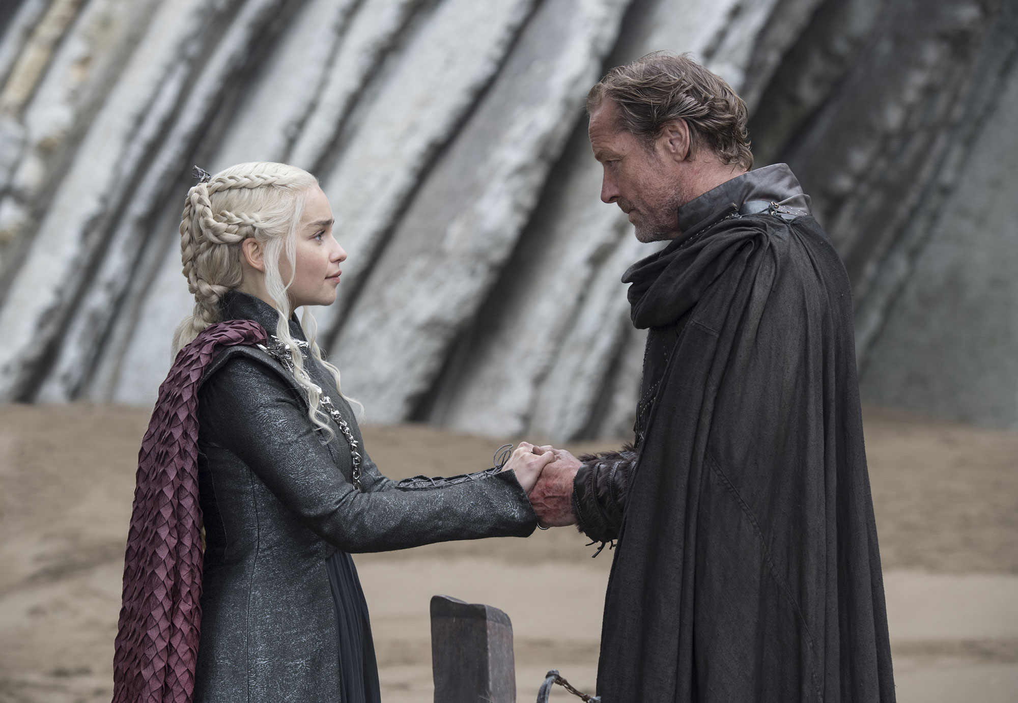Game of Thrones braids hairstyles hair Emilia Clarke, Iain Glen. - In season seven, she criss-crossed her plaits into an intricate woven pattern.