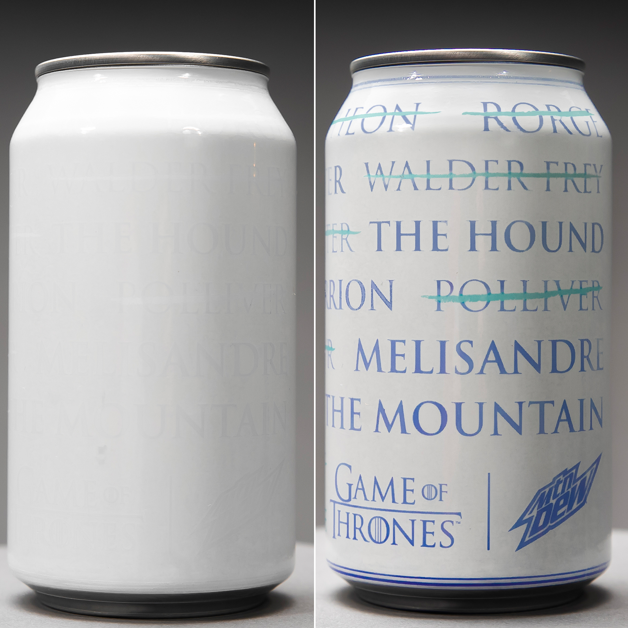 """Game of Thrones Final Season Food - The soda brand removed its iconic neon green """"face"""" revealing a stark white, brandless can – """"A Can Has No Name"""" – ahead of the debut of the HBO show's last season. """"A Can Has No Name"""" is a limited-run, special edition Mountain Dew vessel inspired by beloved character Arya Stark and her training with the Faceless Men of Braavos."""