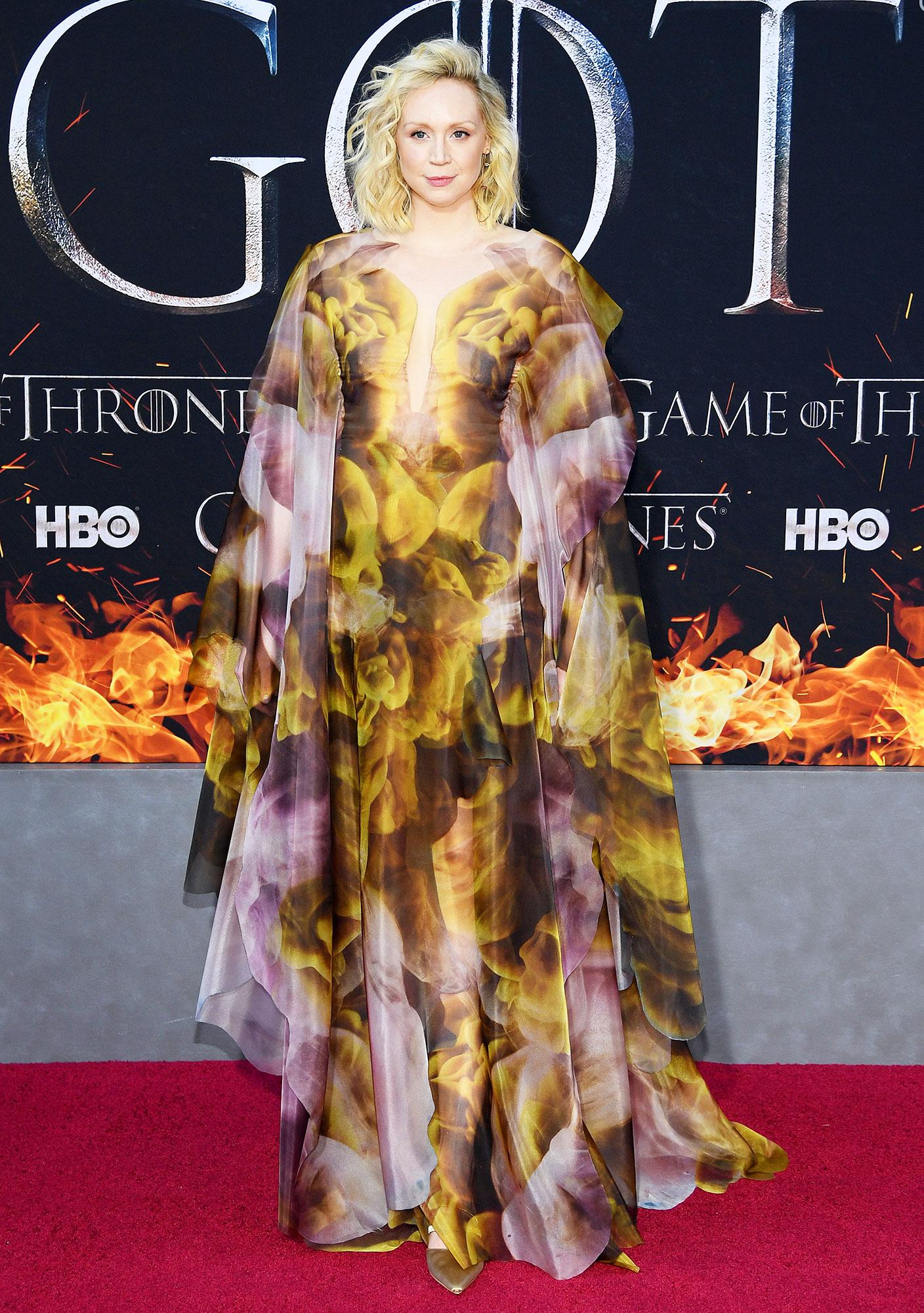 Gwendoline Christie game of thrones - Wearing a flowy, watercolor-inspired Iris van Herpen creation.