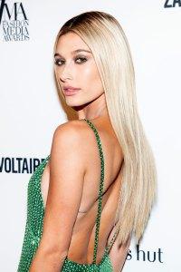 hailey baldwin Met Gala beauty long blonde hair green dress