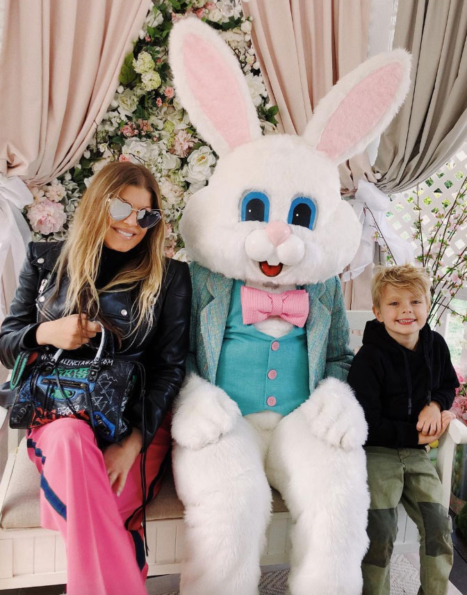 Fergie How the Celebs are Celebrating Easter - The Black Eyed Peas singer didn't miss the opportunity to pose with the Easter Bunny alongside her son, Axl.