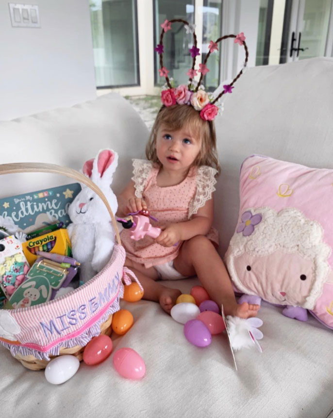 """Tanner Tolbert How the Celebs are Celebrating Easter - The Bachelor Nation stars — who are expecting their second child together — put the focus on their daughter, Emerson. """"The bunny came this year... #happyeaster,"""" Tolbert captioned a picture of the tot playing with her Easter goodies."""