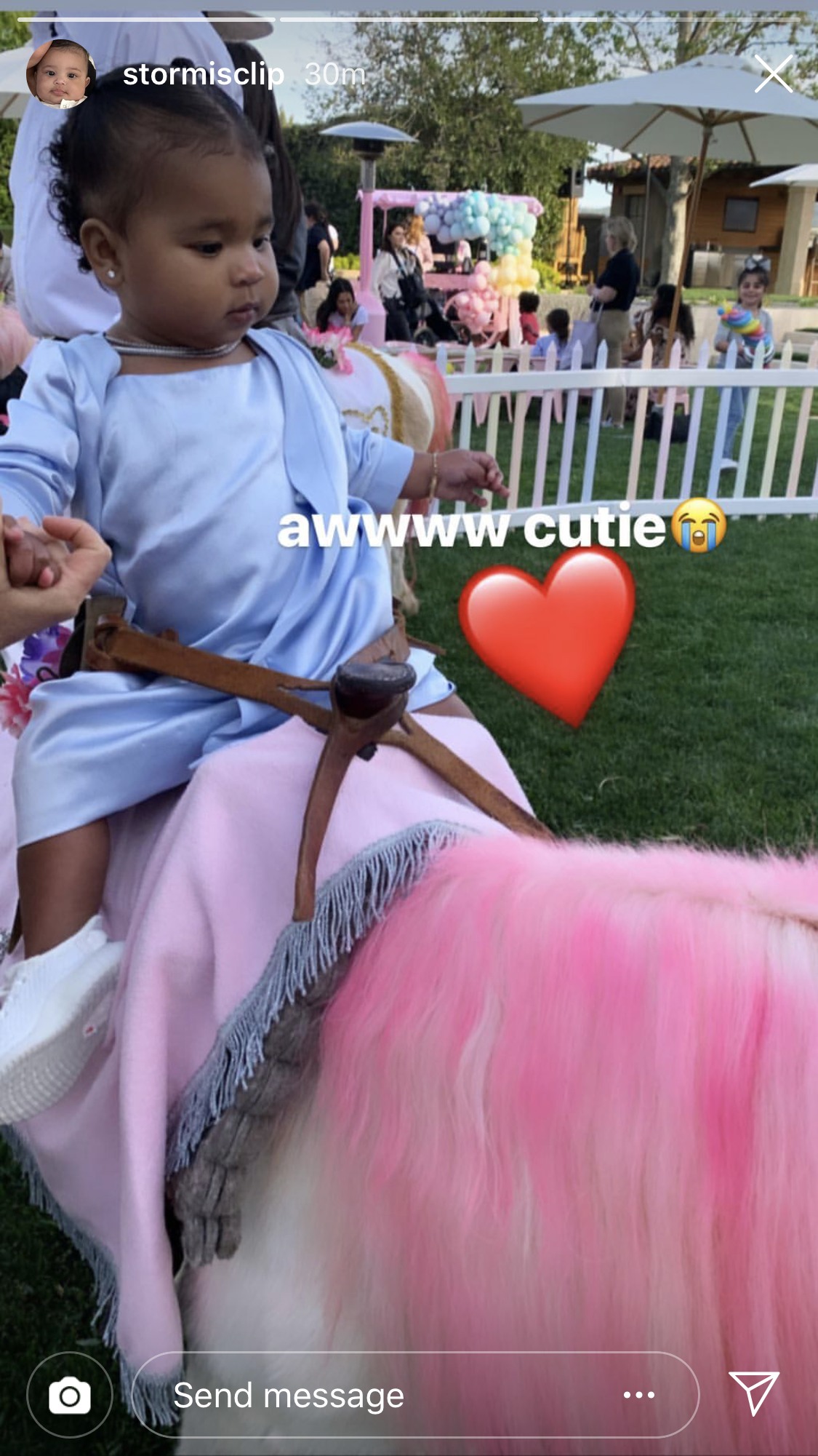 Khloe Kardashian and Daughter True Wear Matching Blue Dresses at Her 1st Birthday Party - True got to ride on a pony at her party.
