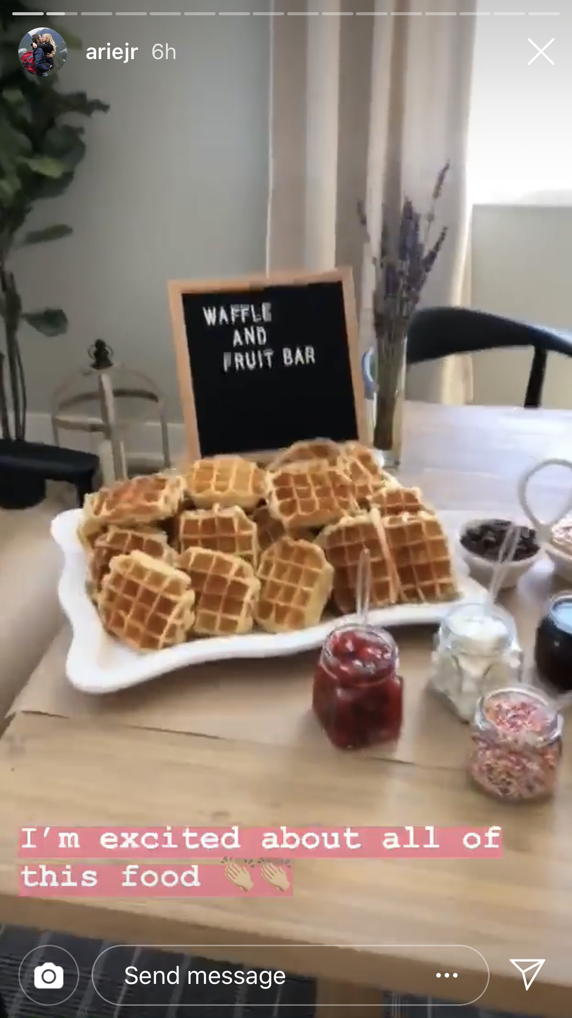 "Arie Luyendyk Jr., Lauren Burnham Celebrate Baby Shower, Complete With Ultrasound Machine - Arie showed off the table set with treats including brownies, cupcakes and a waffle and fruit bar. ""I'm excited about all of this food,"" he commented."