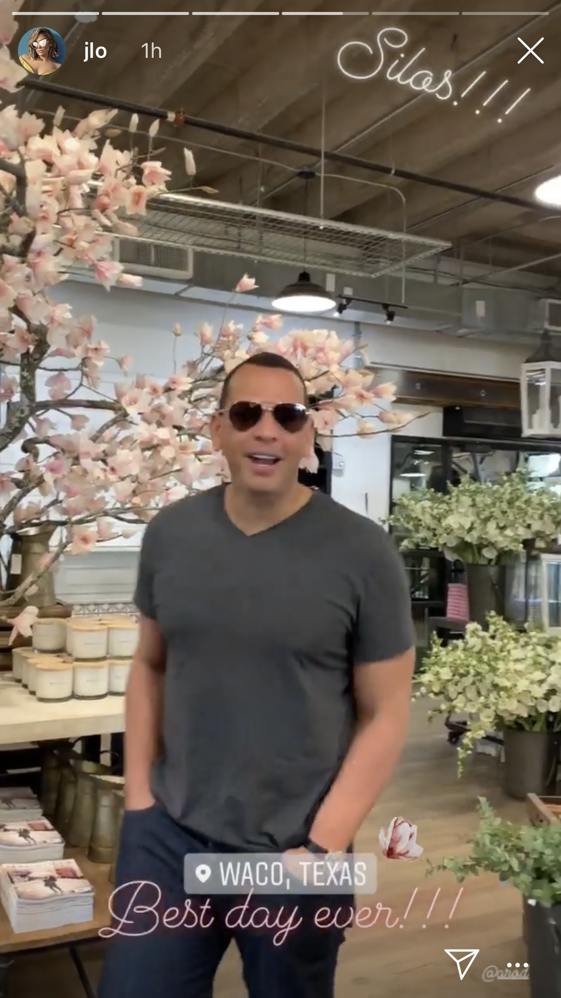 "Jennifer Lopez, Alex Rodriguez Meet Up With Chip and Joanna Gaines: Pics - ""Baby, what are you doing in the Silos,"" Lopez asked her beau of the Gaines' complex, which covers two city blocks and includes food trucks, a garden, seed and supply store and bakery. ""It's beautiful,"" he replied."