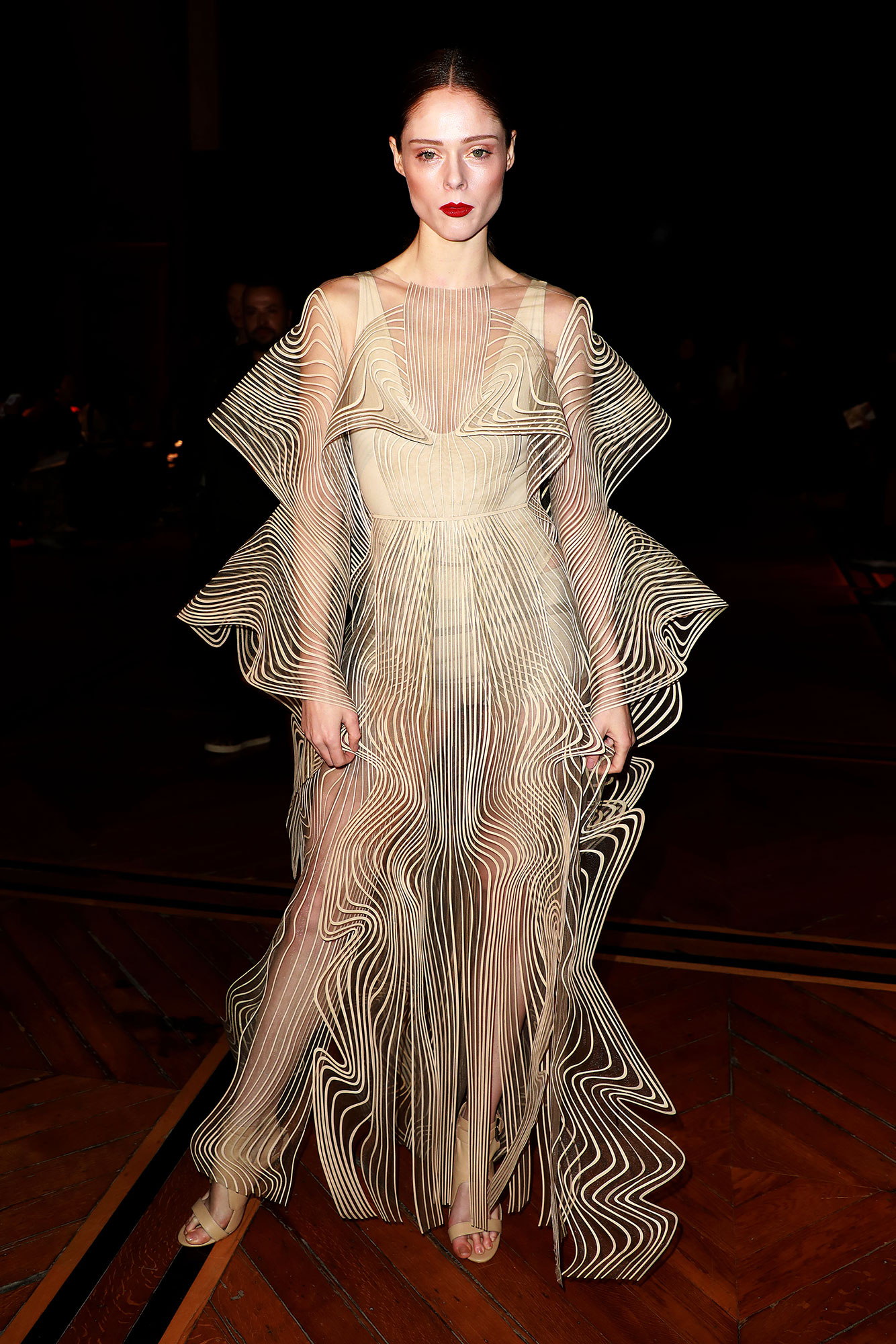 Iris van Herpen Coco Rocha - In a lasercut cotton design with transparent tulle on Jan. 21.