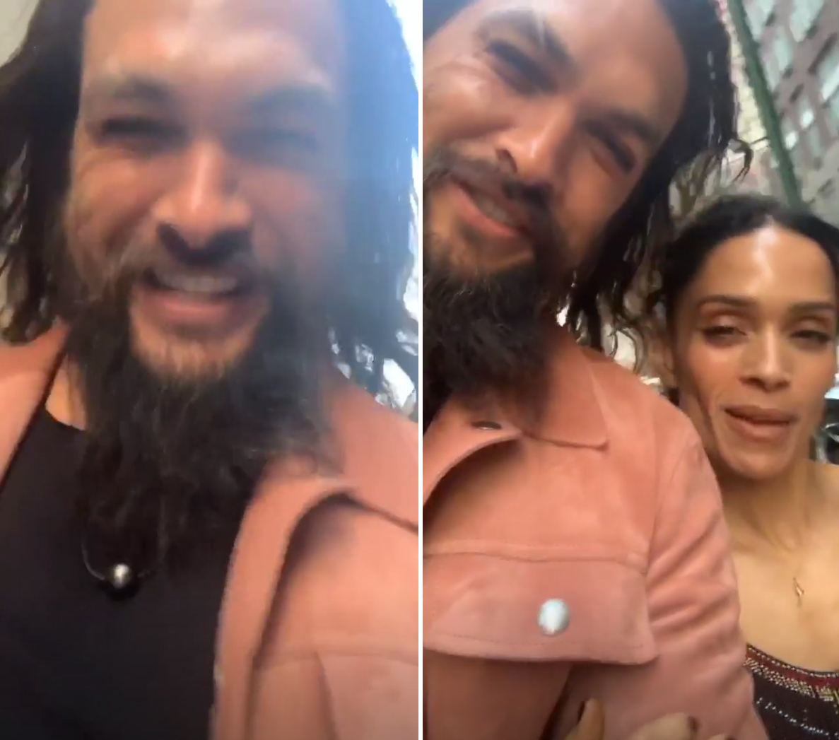 """Jason-Momoa-Lisa-Bonet-game-of-thrones-instagram - Momoa and Bonet attended the NYC premiere of Game of Thrones ' final season and the Aquaman star could not get over his wife's appearance. """"You look gorgeous,"""" he said told the Cosby Show alum on his Instagram Story while the pair walked into the event."""