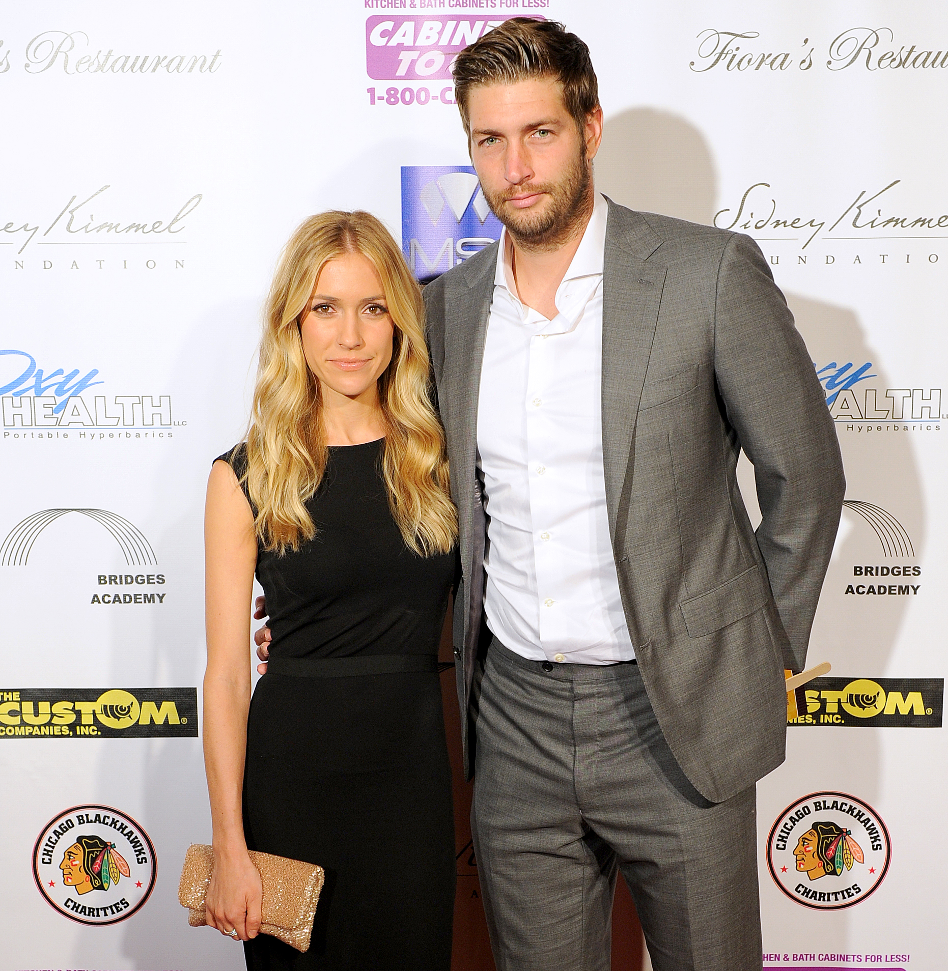 Jay-Cutler-and-Kristin-Cavalleri - Jay Cutler and Kristin Cavalleri attend the Dancing with the Stars Charity event hosted by Jenny McCarthy on August 24, 2013 at Hotel Baker in St Charles, Illinois.